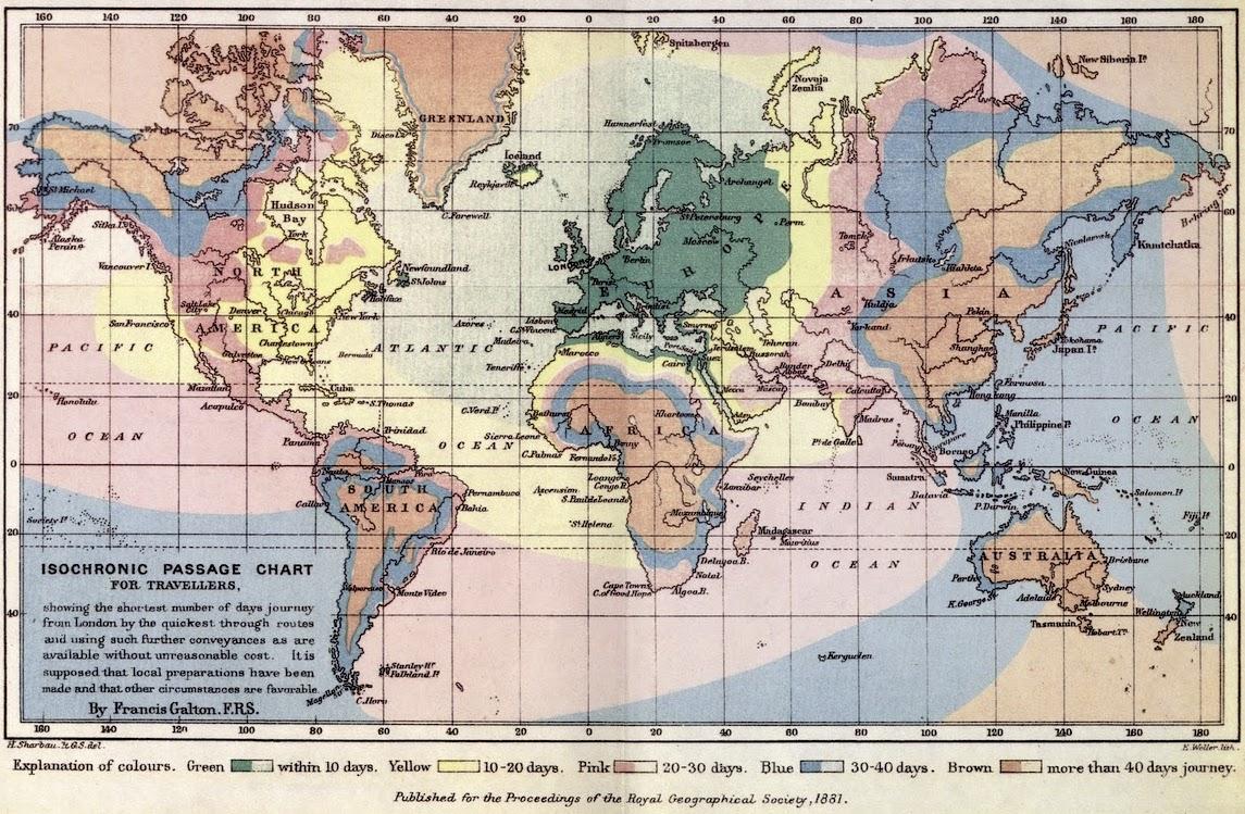 Francis Galton's isochronic map 1881