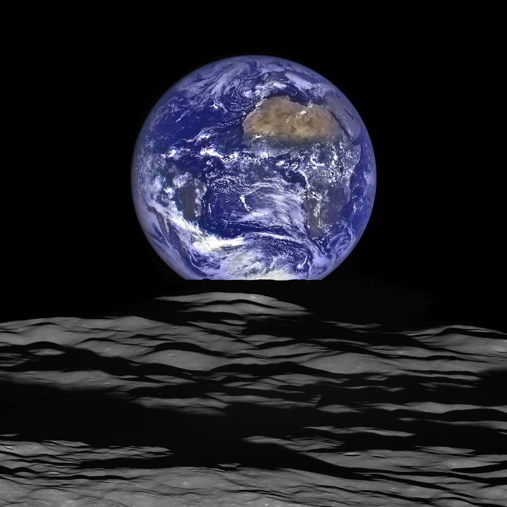 NASA's Lunar Reconnaissance Orbiter (LRO) recently captured this amazing Overview of Earth while orbiting around the moon. This individual image was composed from a series of shots taken on October 12 2015 when the LRO was about 83 miles (134 kilometers) above the moon and traveling faster than 3,580 miles per hour (over 1,600 meters per second) relative to the lunar surface below. Image courtesy of NASA. [ source ]