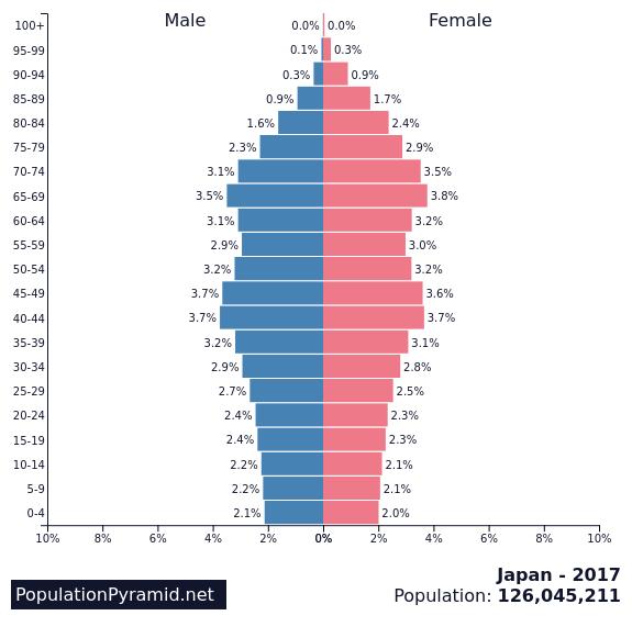 Figure 1. Population pyramid for Japan