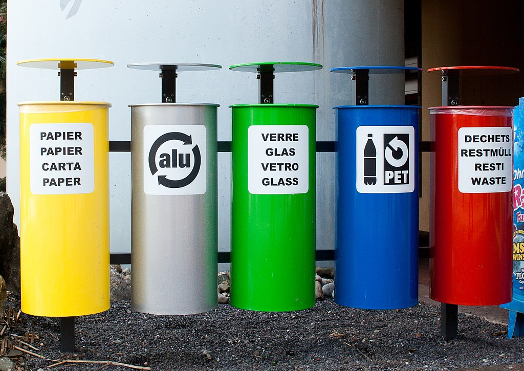 Bins to collect different materials for recycling.