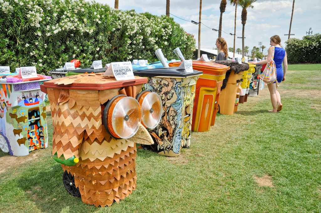 Organisers of Coachella manage its carbon footprint by partnering with the organisation Global Inheritance to promote several environmentally friendly initiatives
