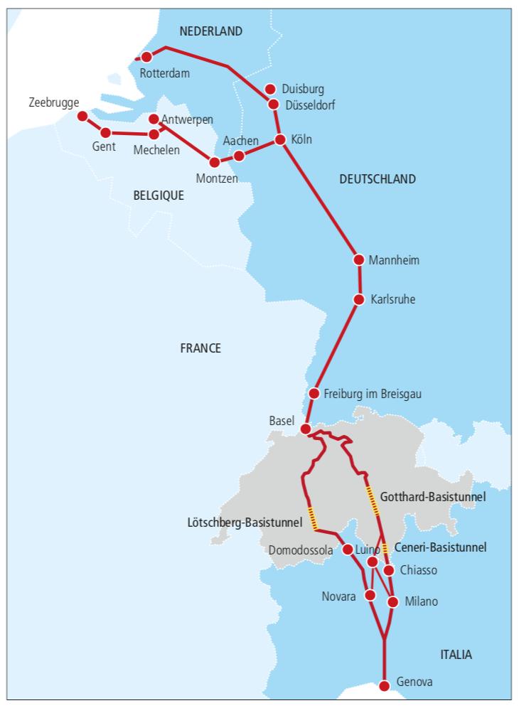 Figure 1. The Rotterdam-Genoa Rail Corridor