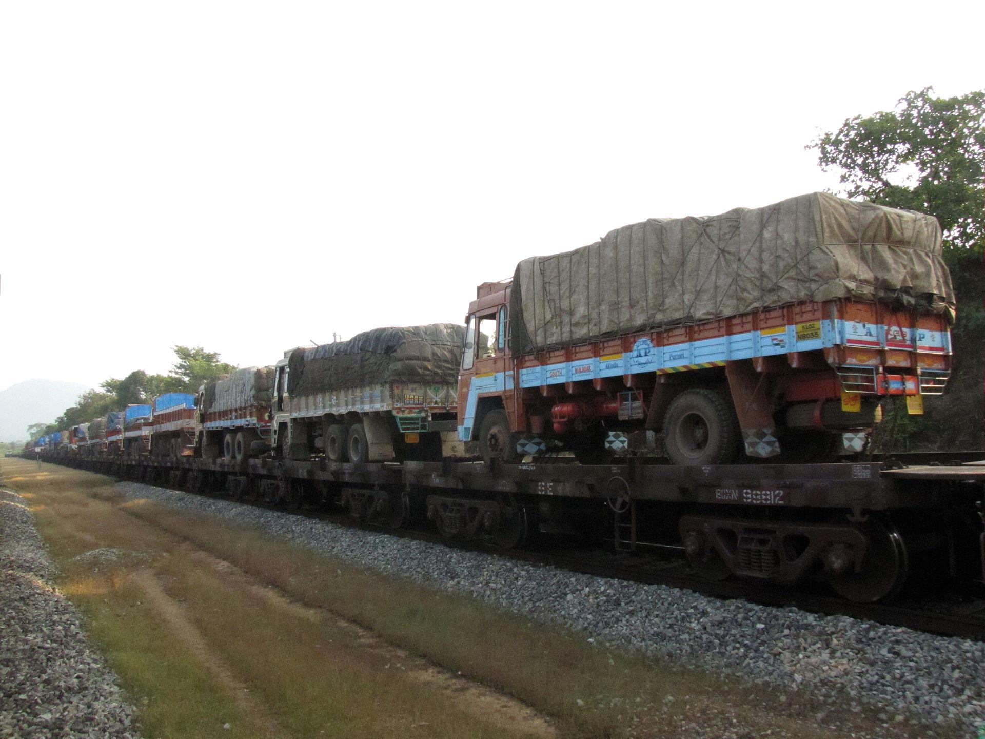 Figure 3. Trucks on a train in India