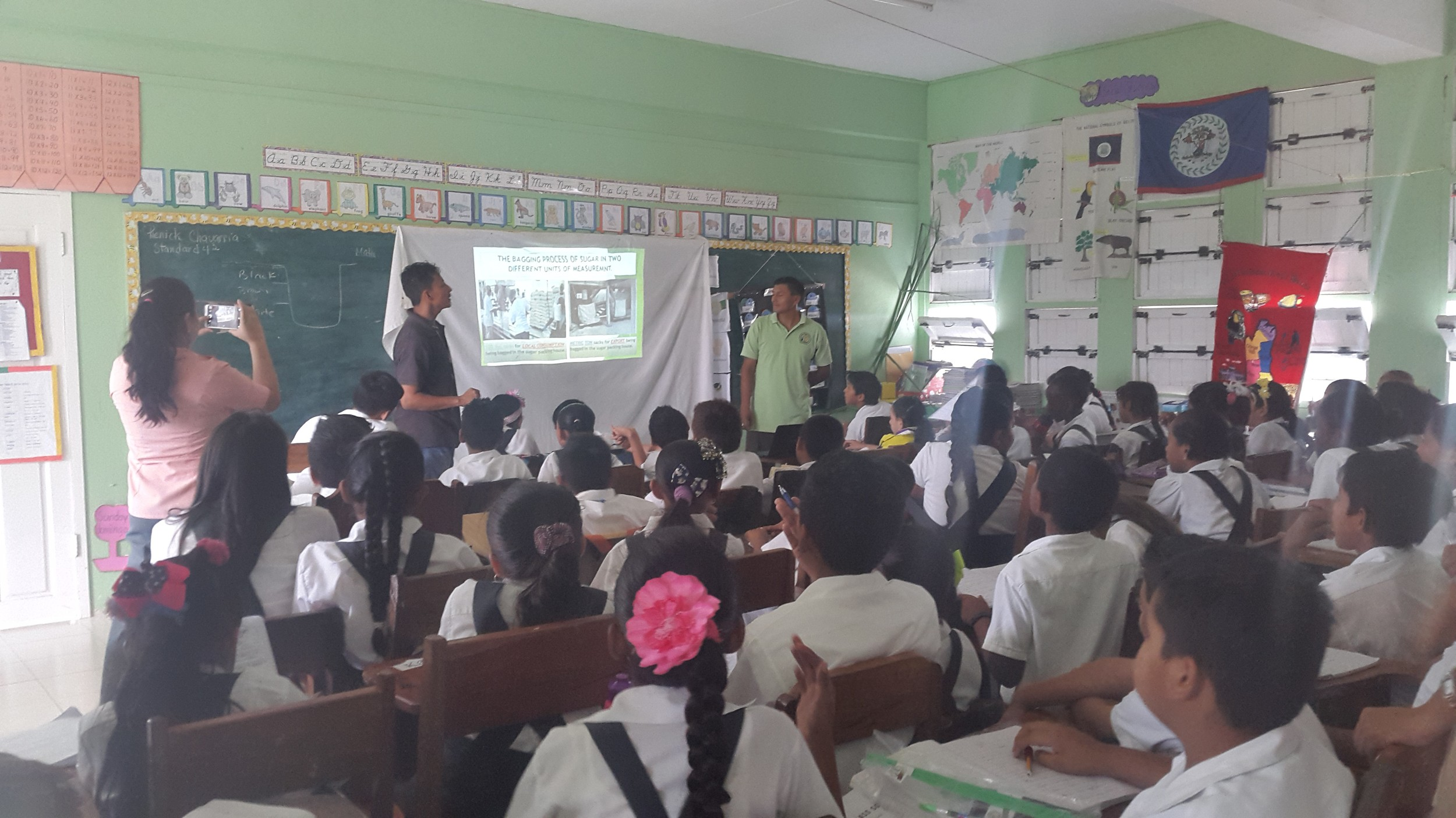 Field Officers, Angel Nicholson & Daniel Villanueva presenting at Mary Hill RC Primary School in the Corozal District