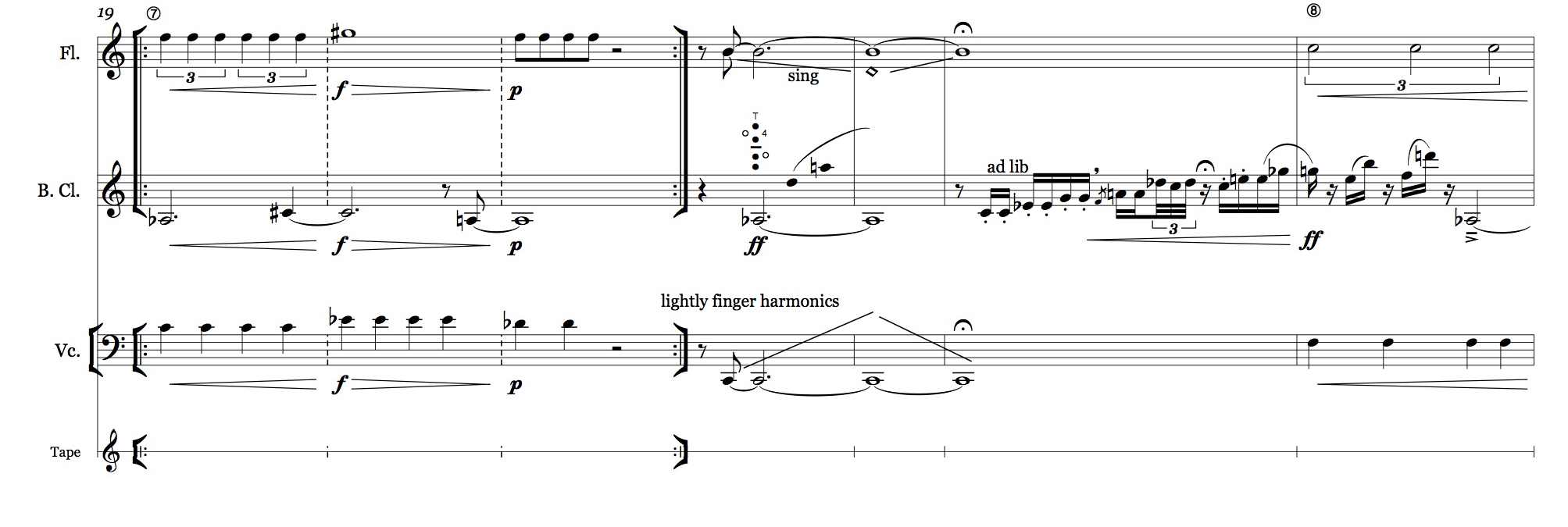 Part of the score of  Prypriat  for Flute, Cello, Bass Clarinet and Tape