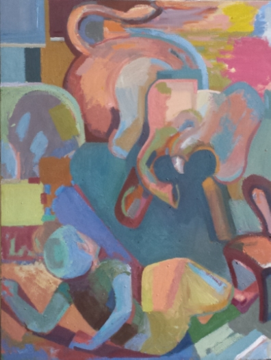 """Elephant in the Room, Four Square, oil on canvas, about 40""""x34"""" (photo of painting in transformation from the studio - last updated Feb 28th, 2014.)"""