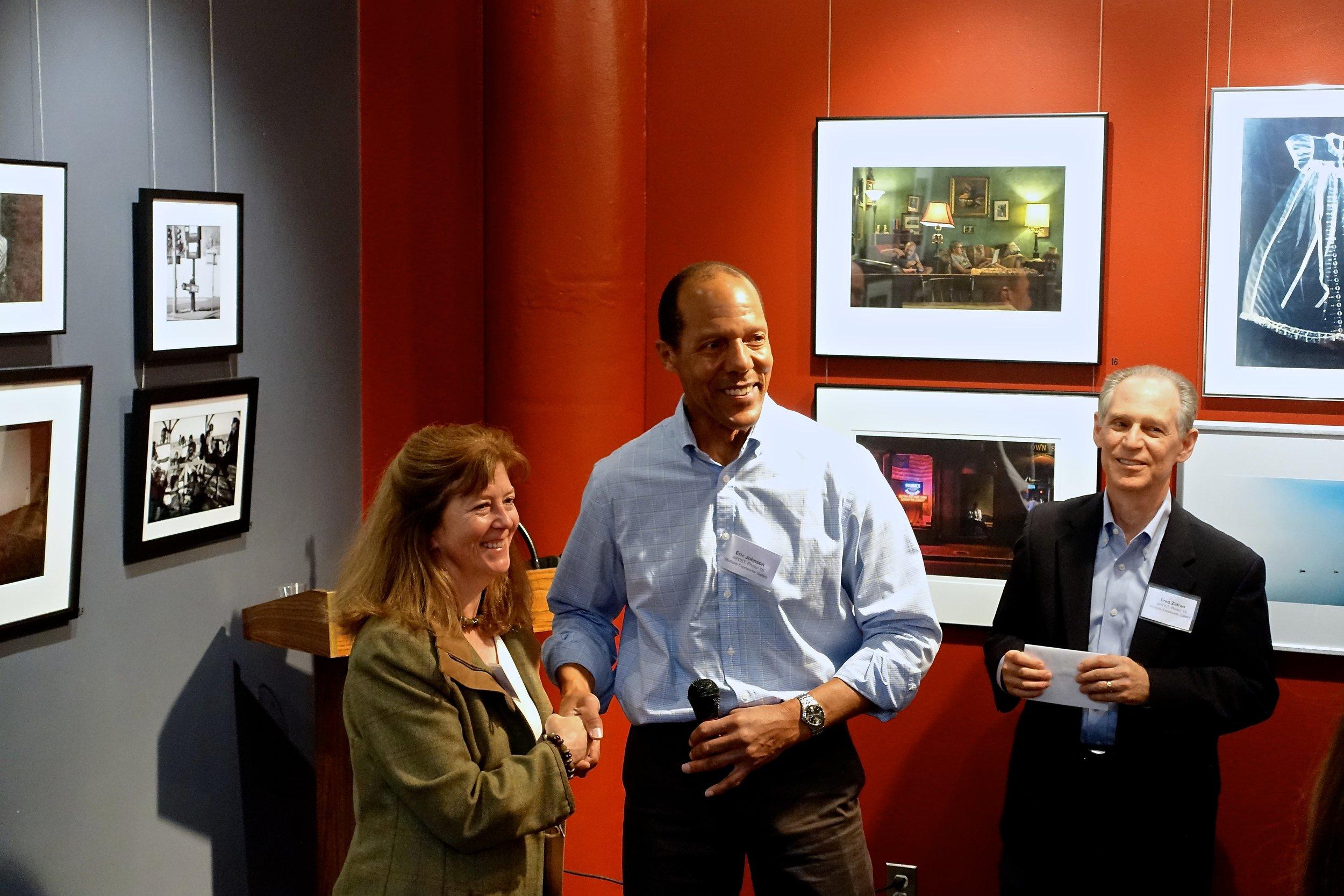 Sarah Salomon with MEG members Eric Johnson and Fred Zafran
