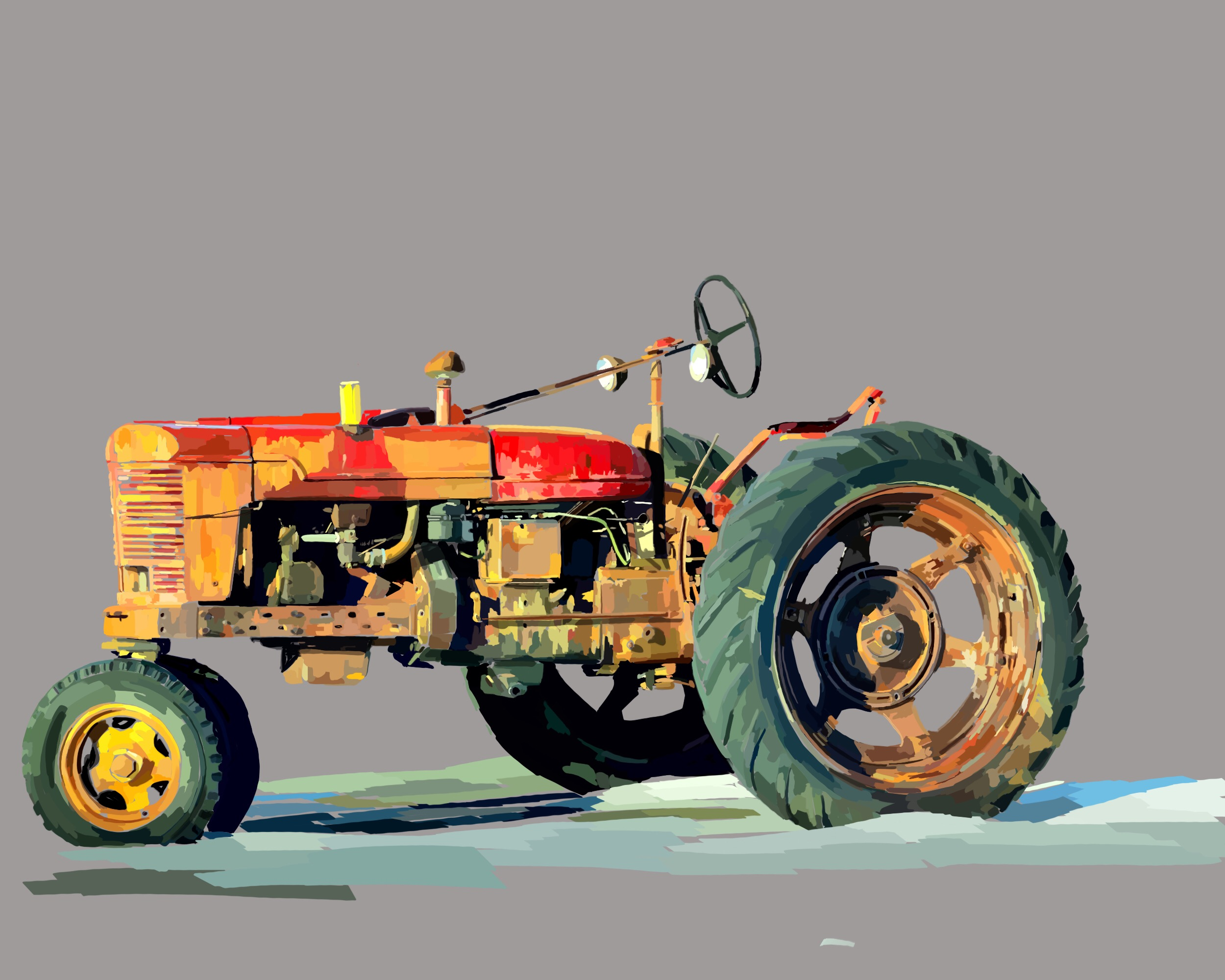 Yellow and Red Tractor