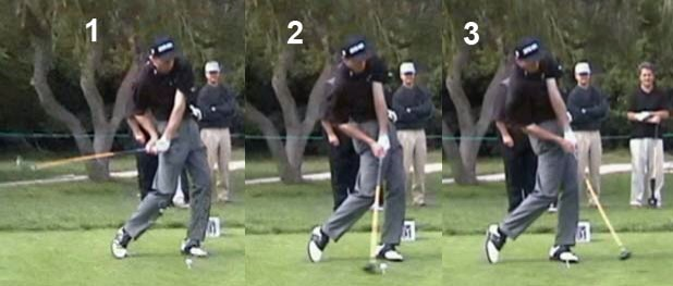 Right arm trapped on his side, clubface totally stable through impact making him extremly accurate