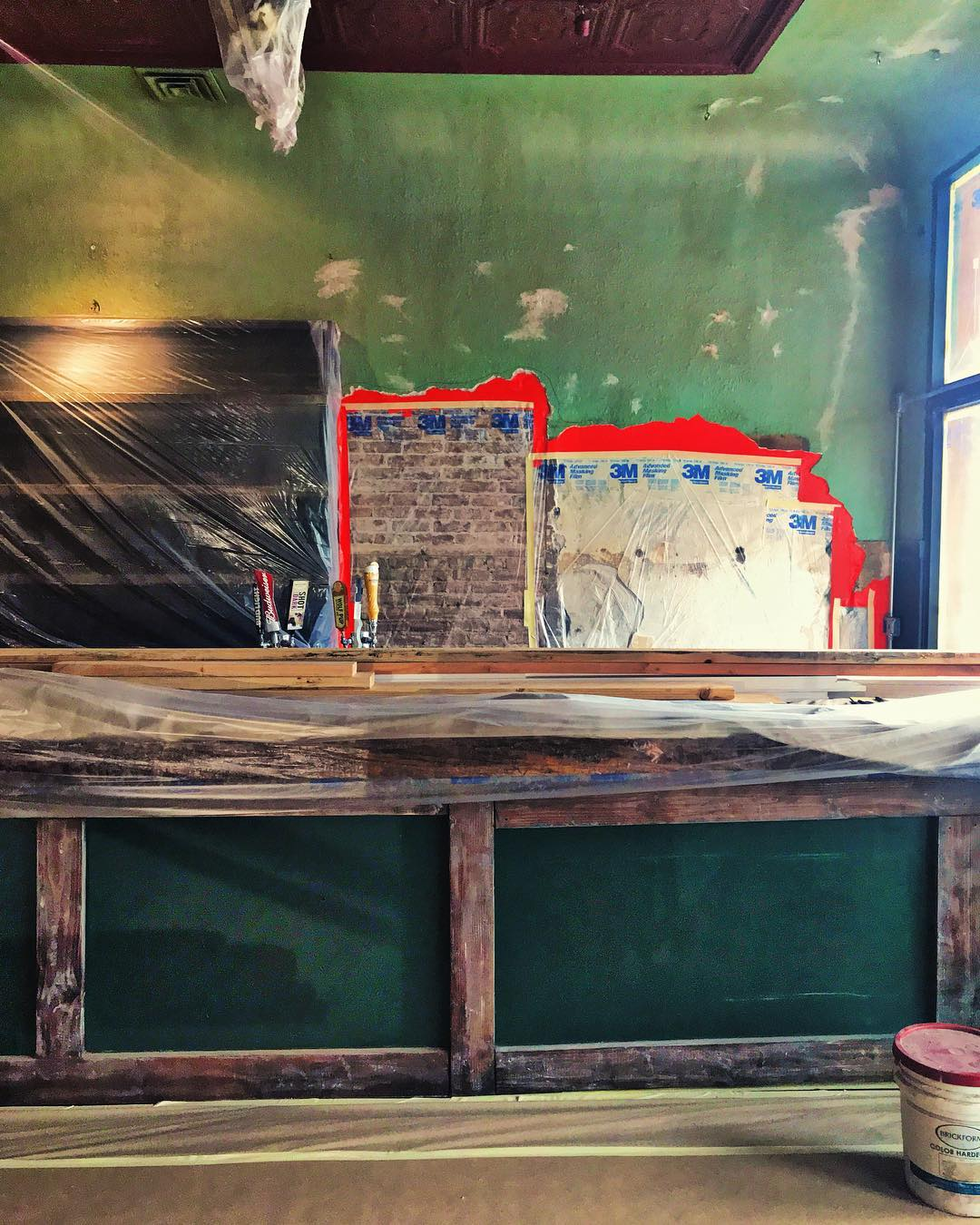 We are ready for paint in the bigger room at the restaurant! Lots of cleaning up and moving pieces and restoring all the history in this beautiful building - I can't wait to see the difference the PAINT is going to make this afternoon!%0A.jpg