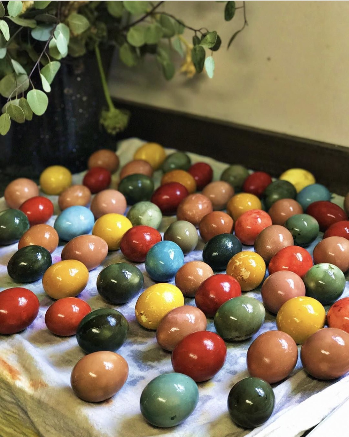 Five Marys eggs with a variety of Natural Dyes - all left to soak in the refridgerator overnight.