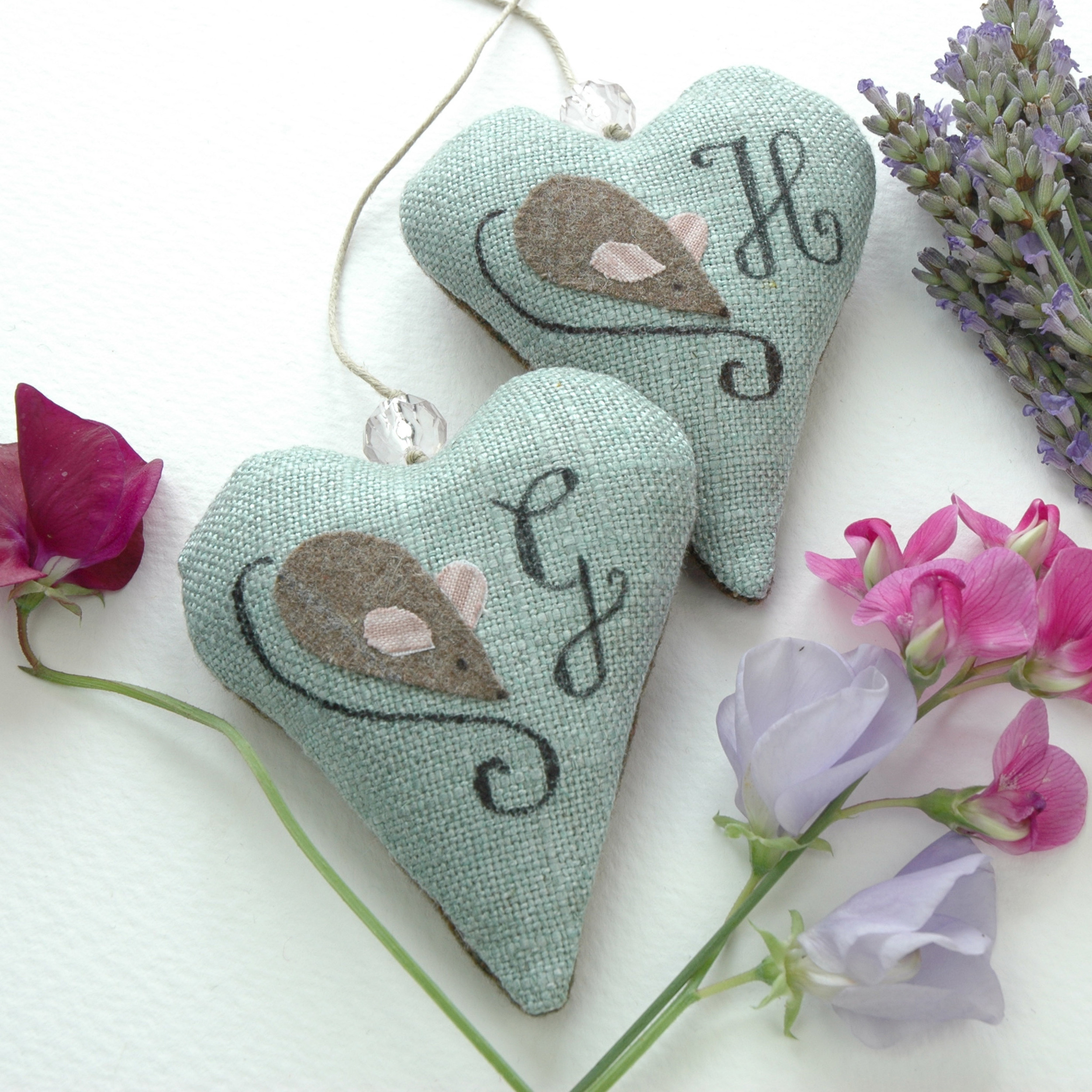 Handmade lavender filled hanging hearts.