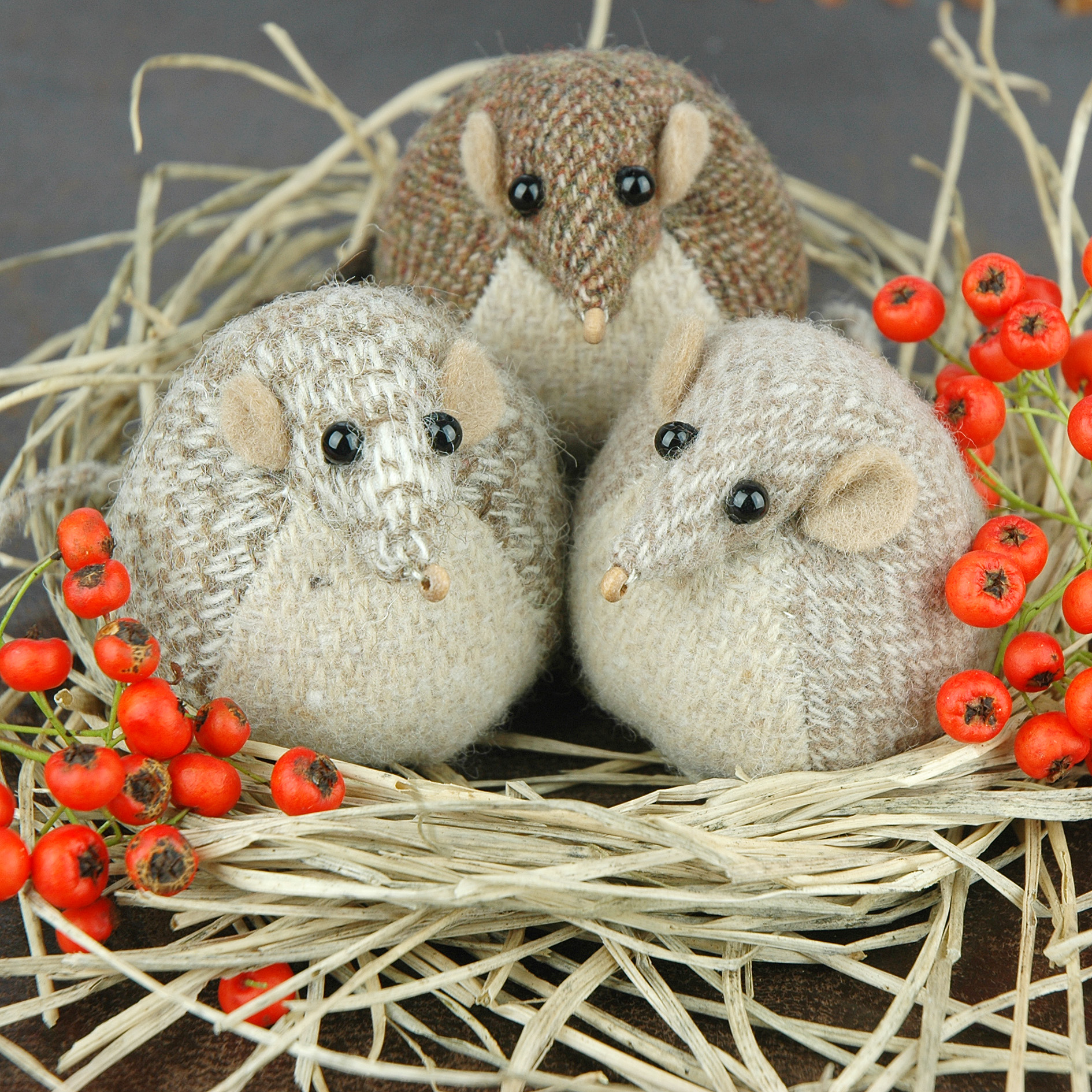 Handmade tweed harvest mouse paperweights.