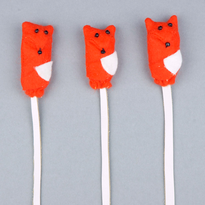 Handmade felt fox bookmarks.