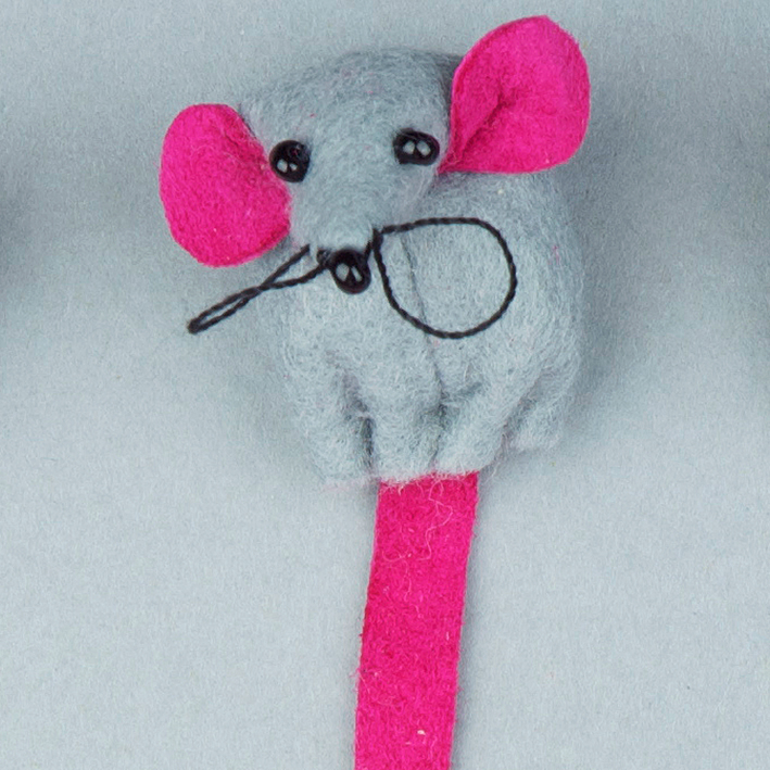 Handmade felt mouse bookmark with pink leather.