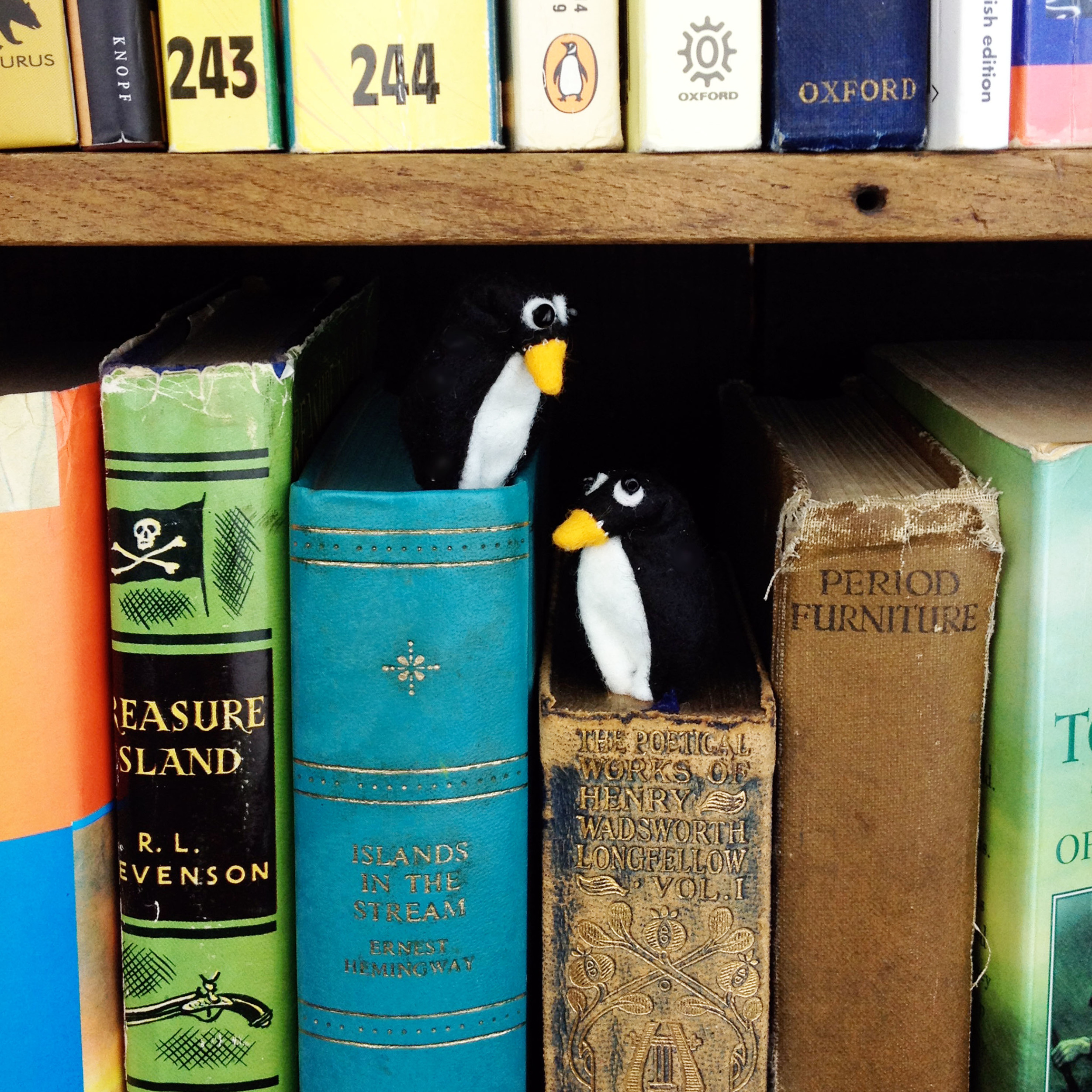 Handmade felt penguin bookmarks.