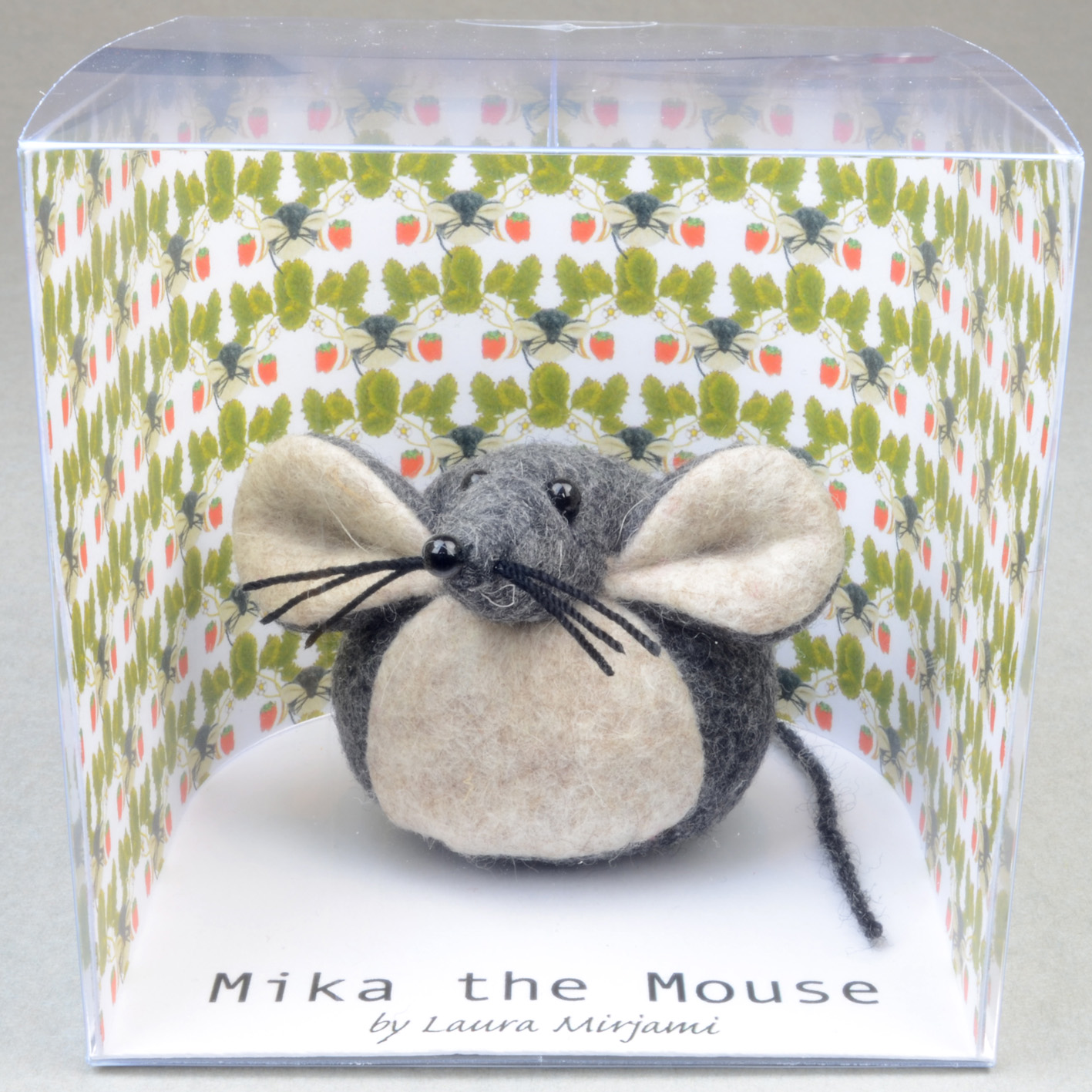 Handmade Mika the Mouse paperweight in a new packaging box.