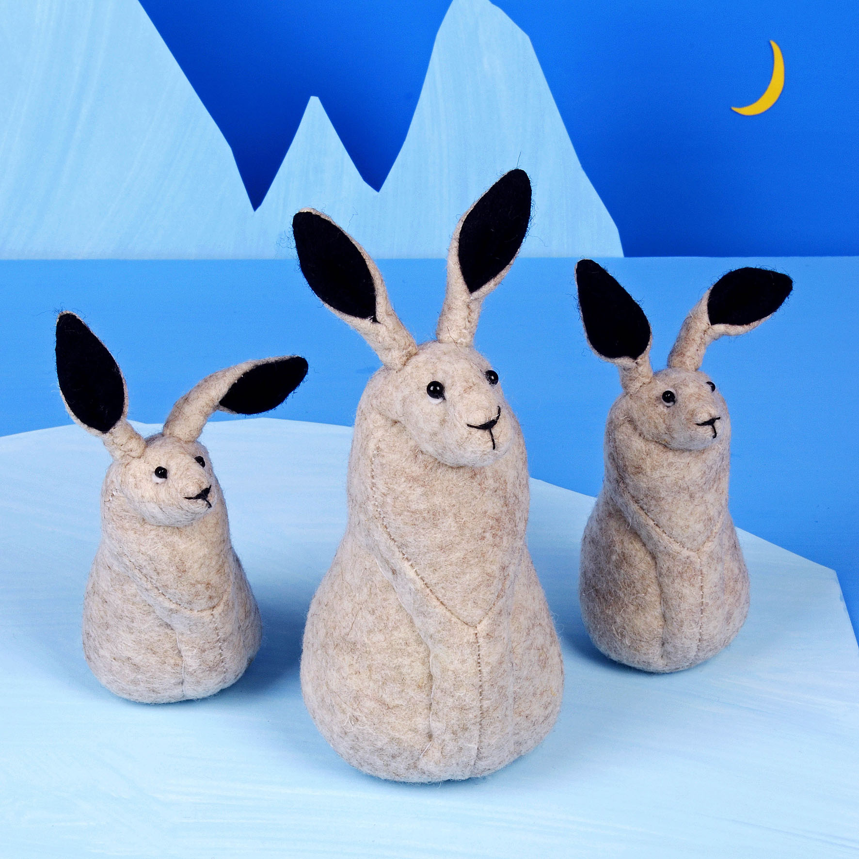 Hector the Arctic Hare, handmade from 100% wool felt.