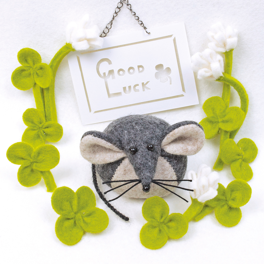 Good luck greeting card featuring Bilberry Woods character Mika the Mouse as a felt paperweight.