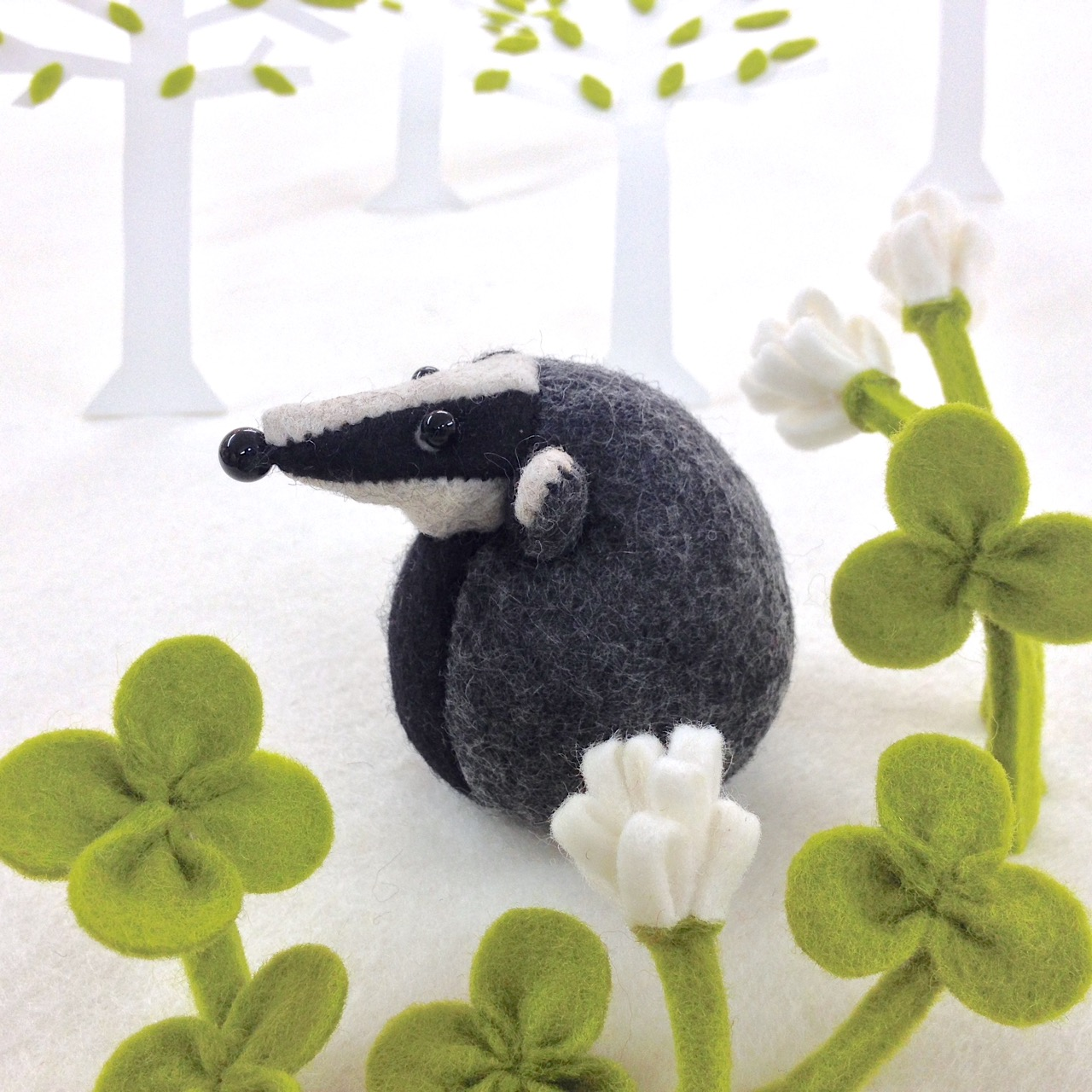 Handmade Bernard the Badger character from Bilberry Woods, handmade into a perfect little paperweight.