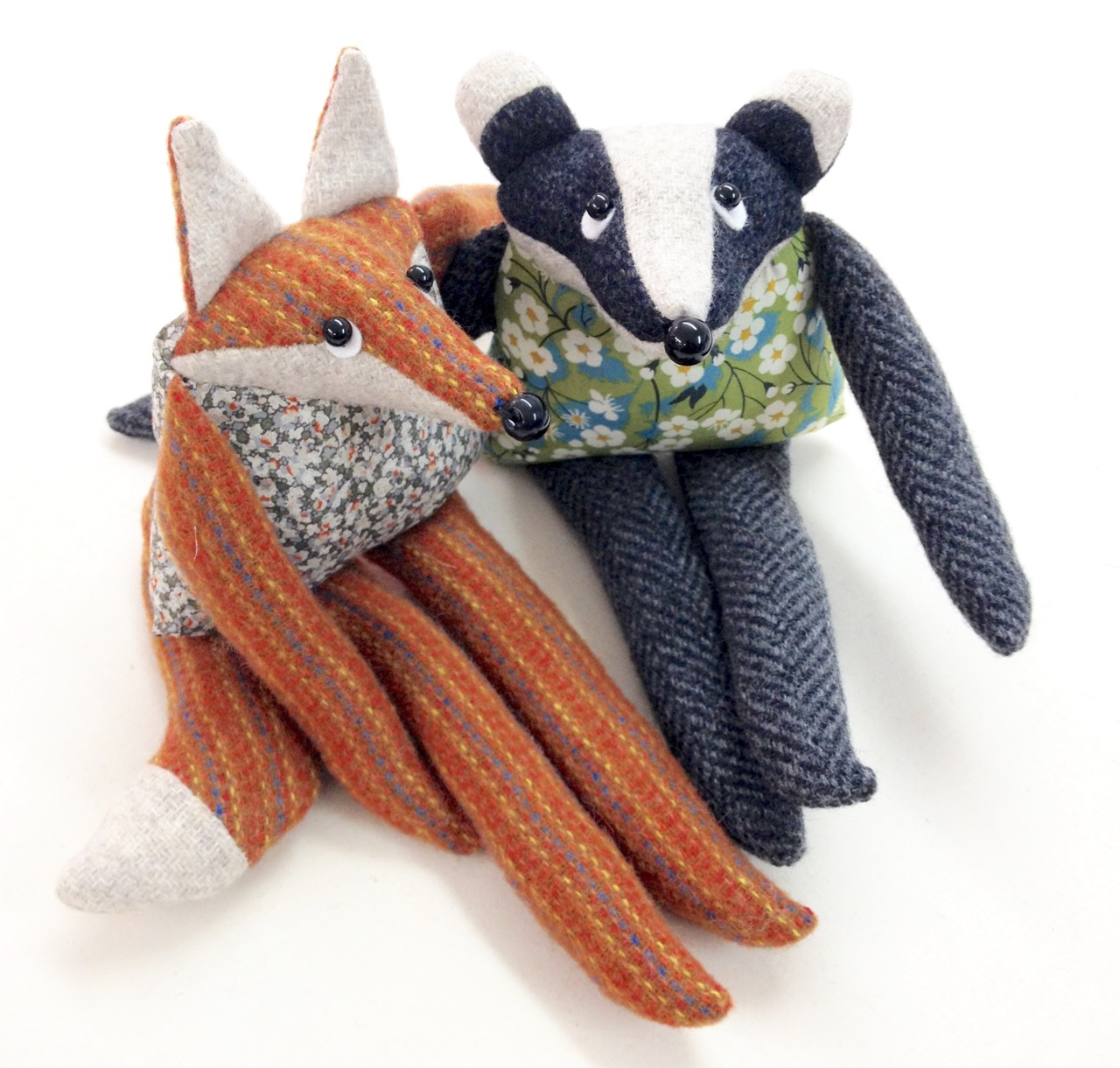 Fox and badger artist rag doll handmade from British tweed and Liberty print fabrics.