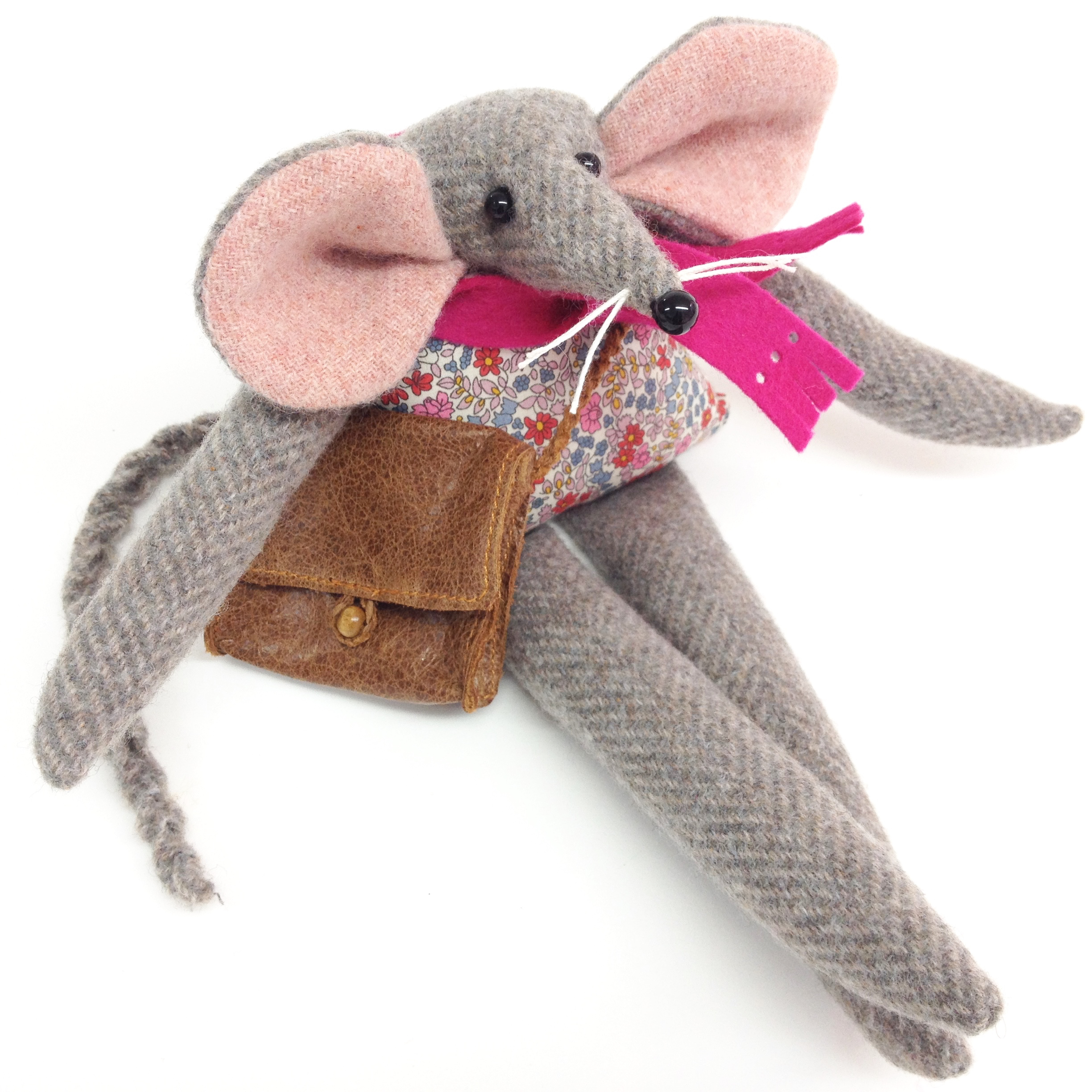 Artist mouse rag doll handmade from British tweed and Liberty fabrics with a leather satchel.
