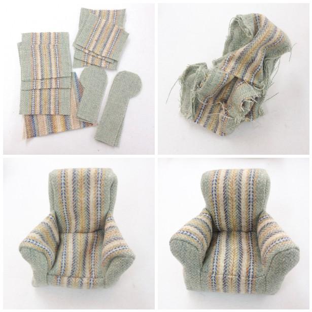 Making of tweed miniature armchairs by Laura Mirjami | Mirjami Design