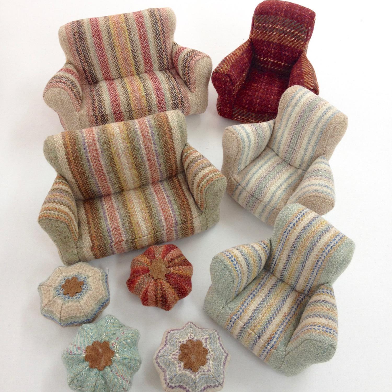 Handmade miniature tweed armchairs and footstools by Laura Mirjami | Mirjami Design.