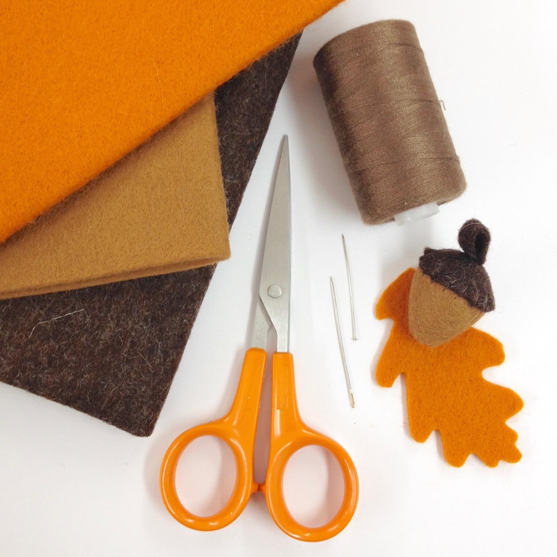 Materials for felt acorns