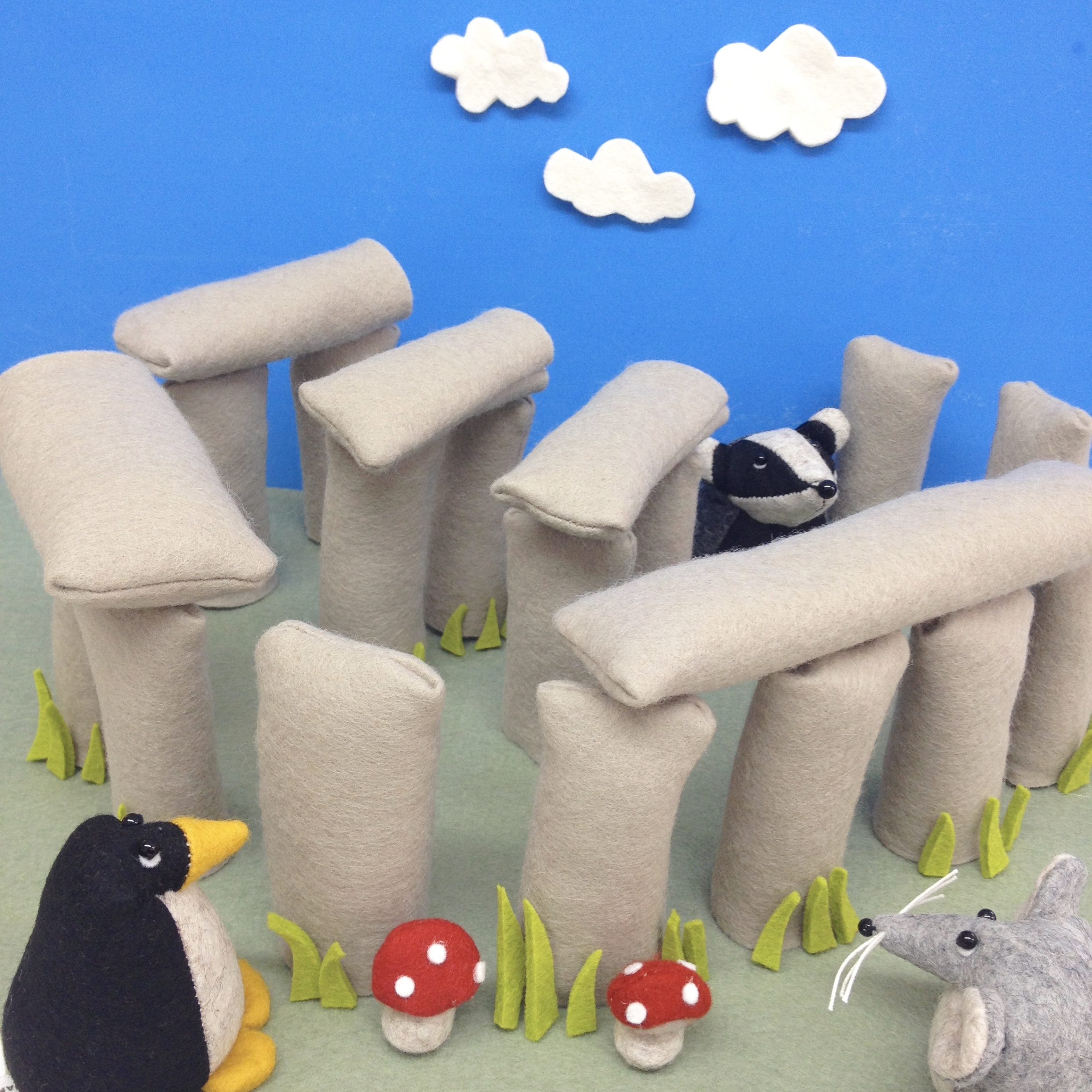 Bilberry Woods characters visiting the Stonehenge by Laura Mirjami | Mirjami Design
