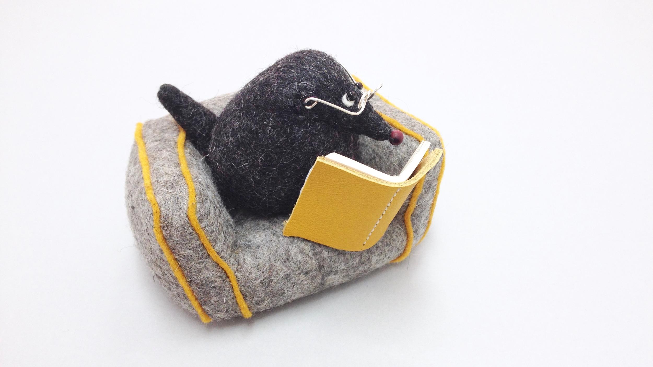Bilberry Woods character Mr Mole animal figurine handmade from wool felt by Laura Mirjami | Mirjami Design.jpg