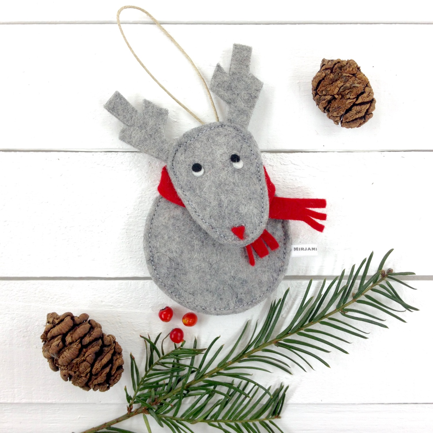 Bilberry Woods character Christmas decorations by Laura Mirjami