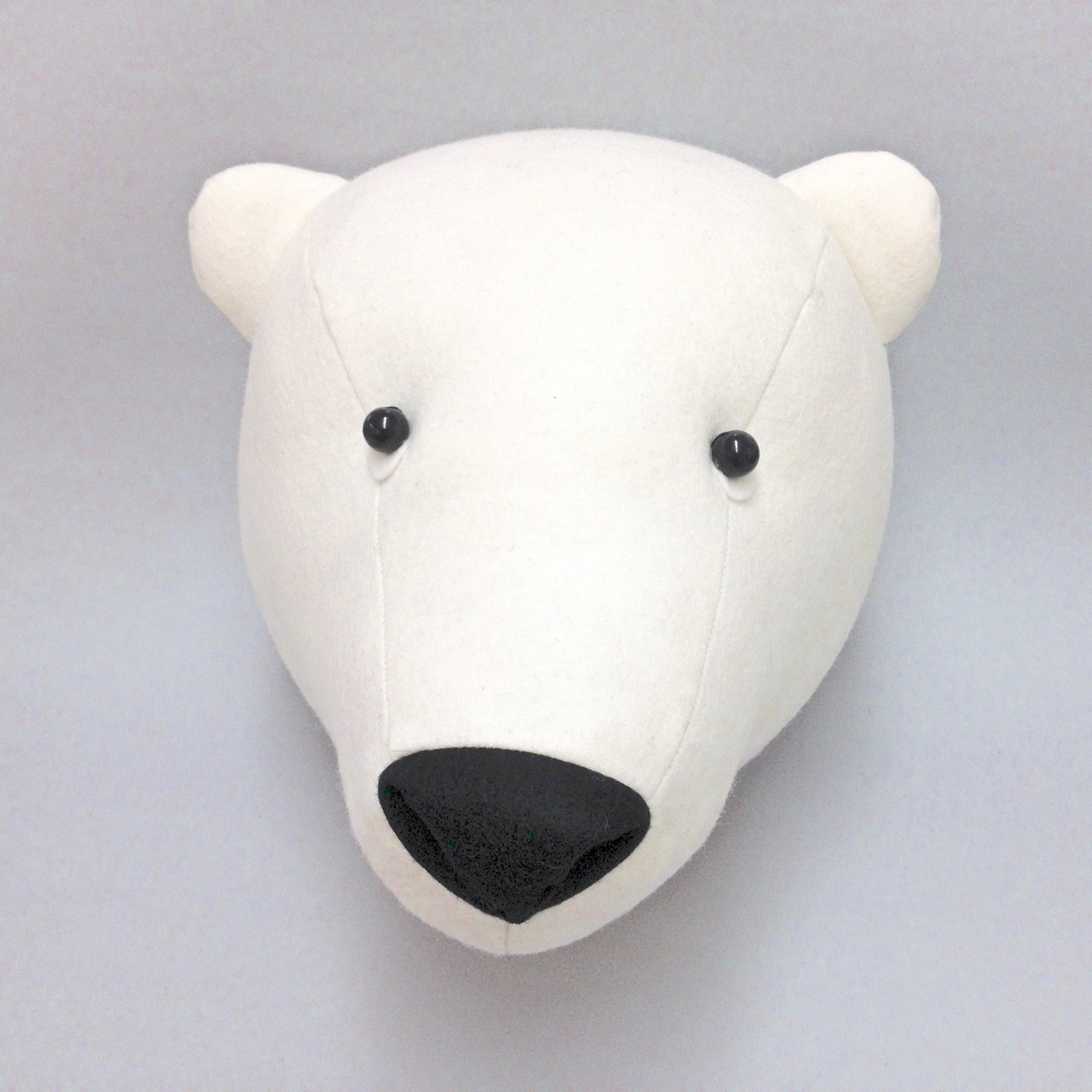 Felt Polar Bear Faux Taxidermy wall hanging by Laura Mirjami