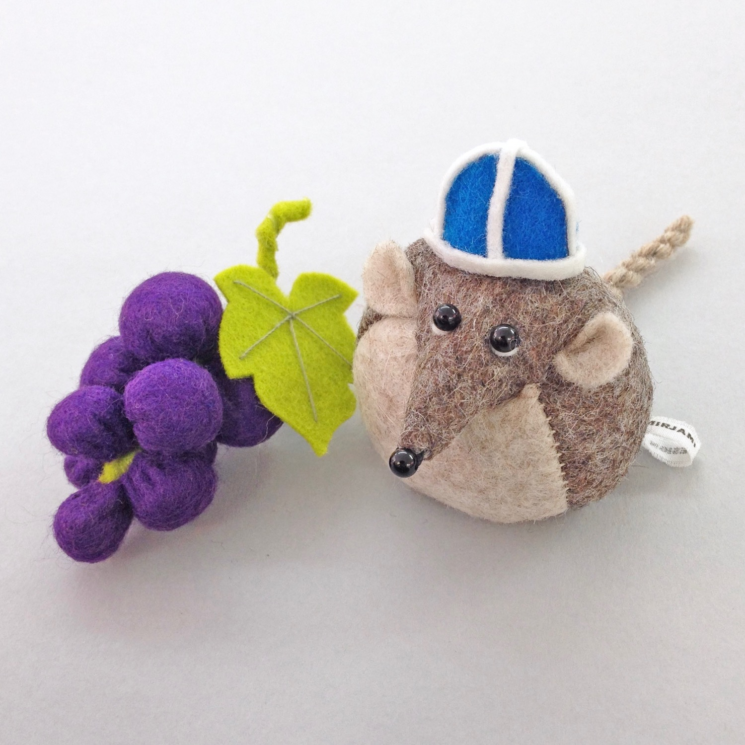 Henry the Harvest Mouse wool felt Bilberry Woods character by Laura Mirjami