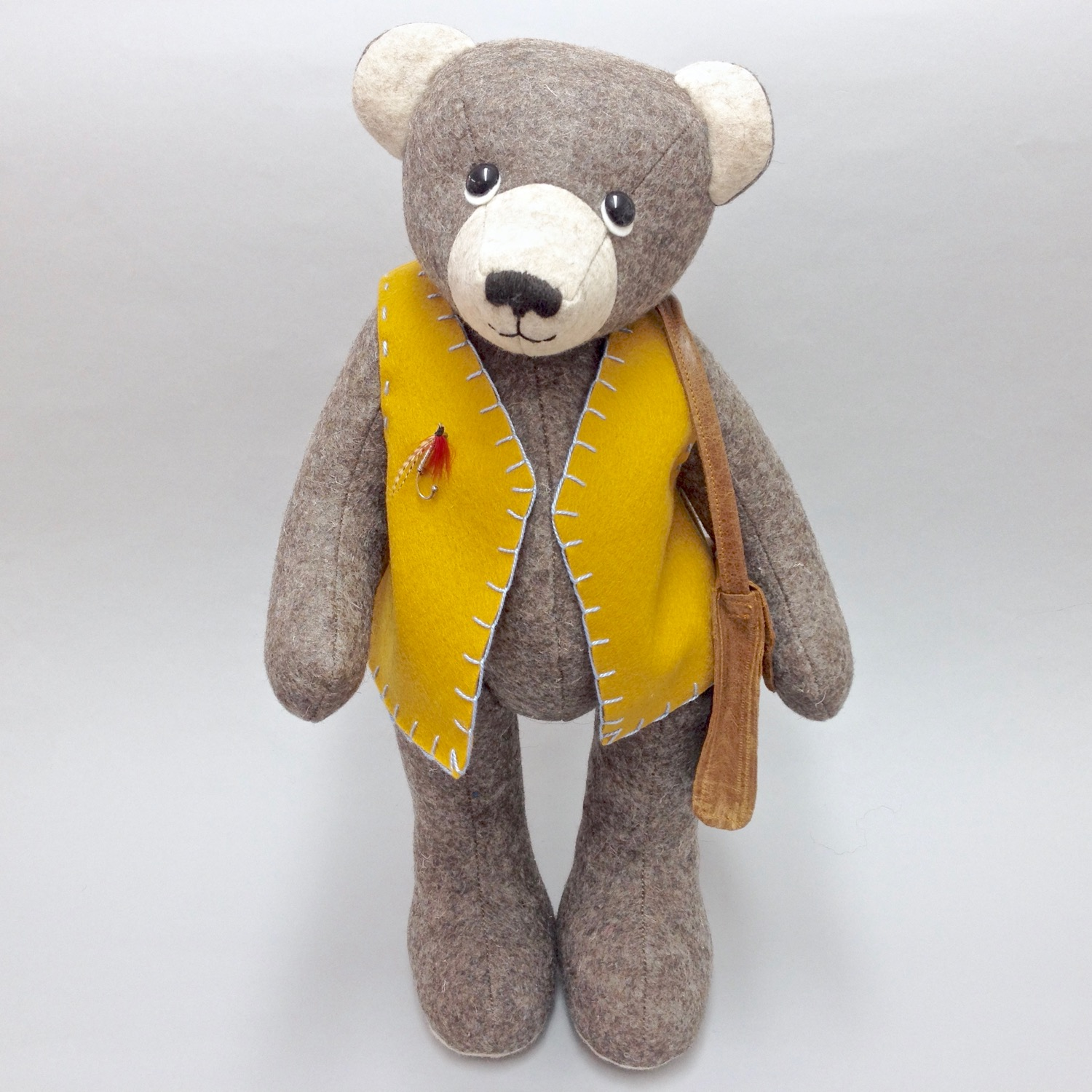 One-of-a-kind felt artist teddy bear by Laura Mirjami