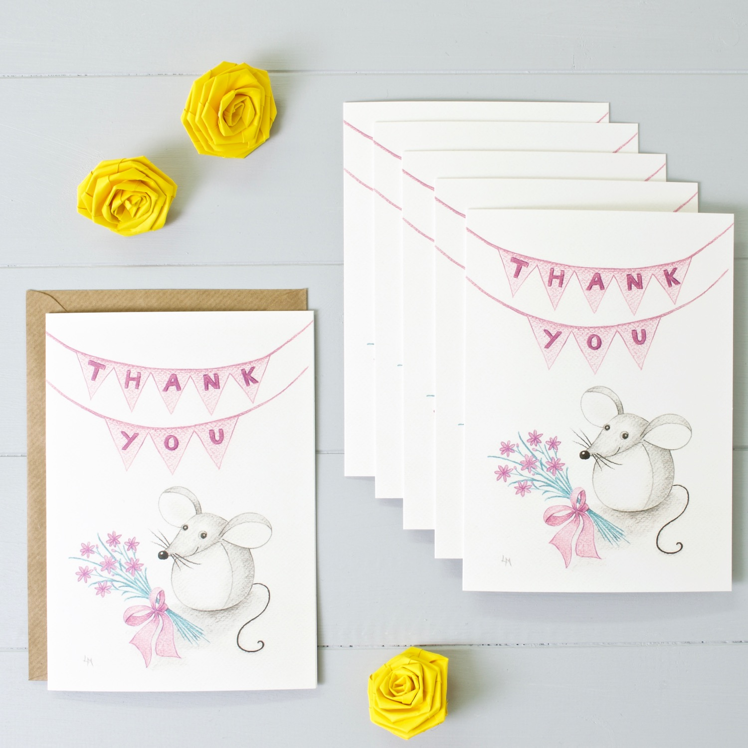 Bilberry Woods mouse character Thank You greeting card by Laura Mirjami | Yellow Rose Design