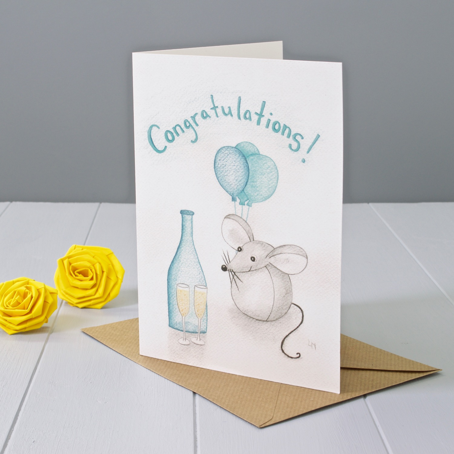 Bilberry Woods mouse character Congratulations greeting card by Laura Mirjami | Yellow Rose Design