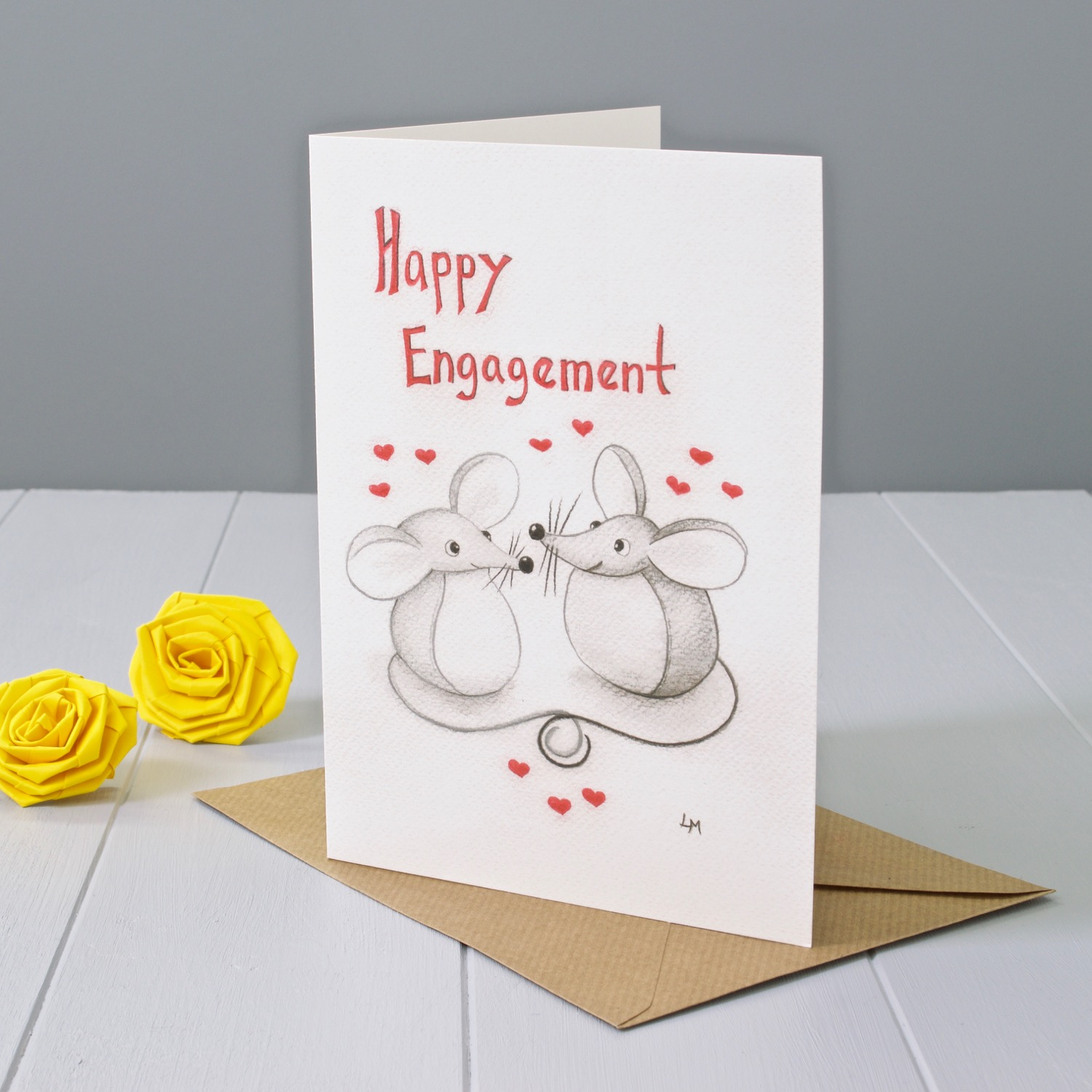 Bilberry Woods mouse character Engagement greeting card by Laura Mirjami | Yellow Rose Design