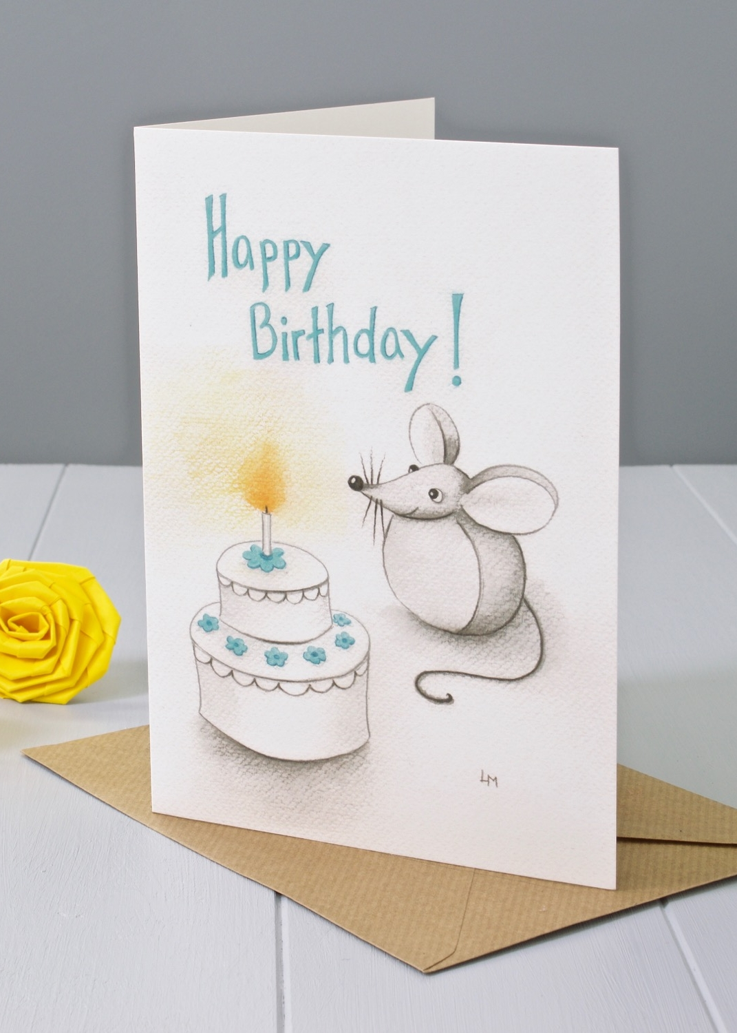 Bilberry Woods mouse character Happy Birthday greeting card by Laura Mirjami | Yellow Rose Design