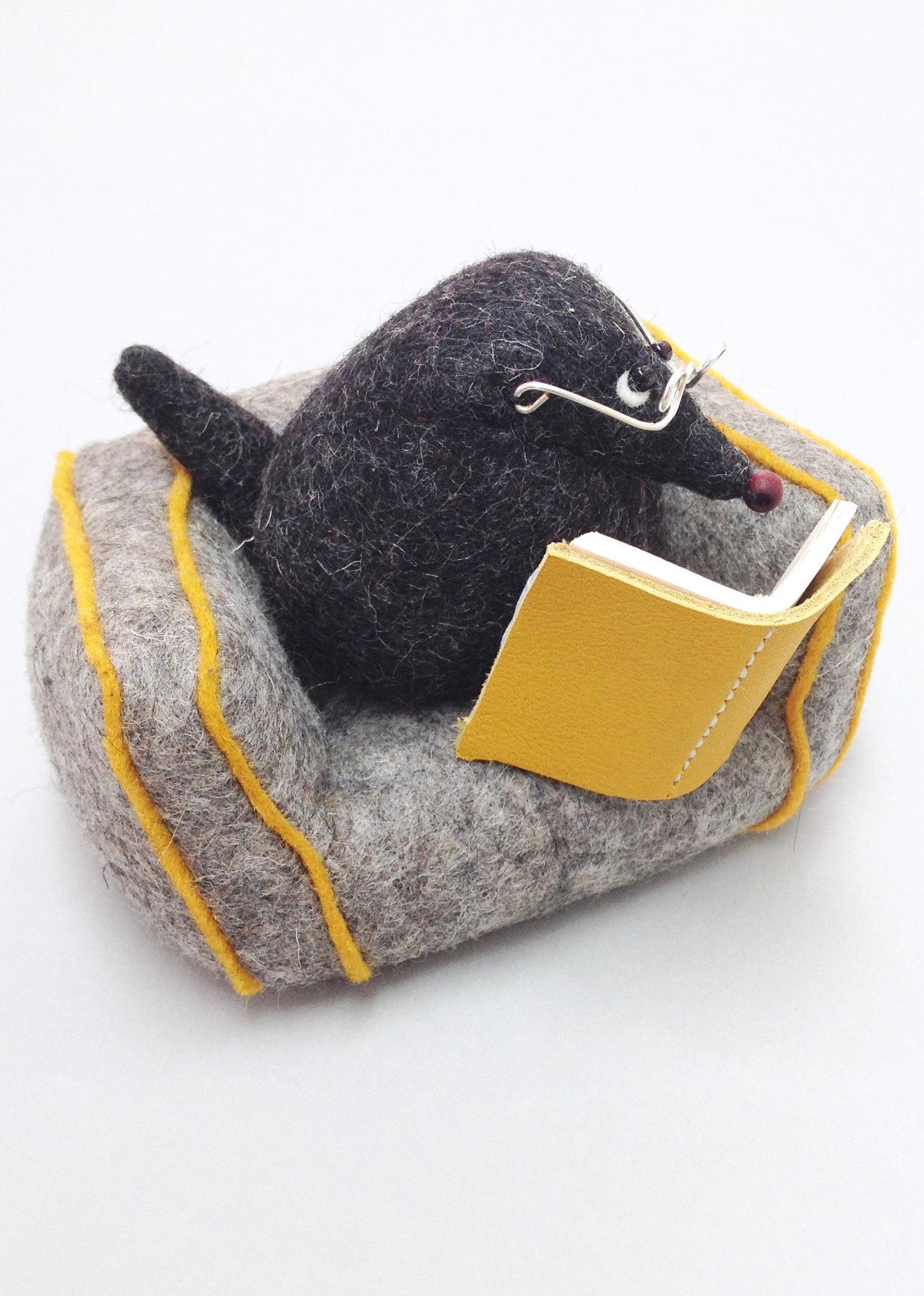 Mr Mole felt soft sculpture paperweight with felt armchair handmade by Laura Mirjami | Bilberry Woods