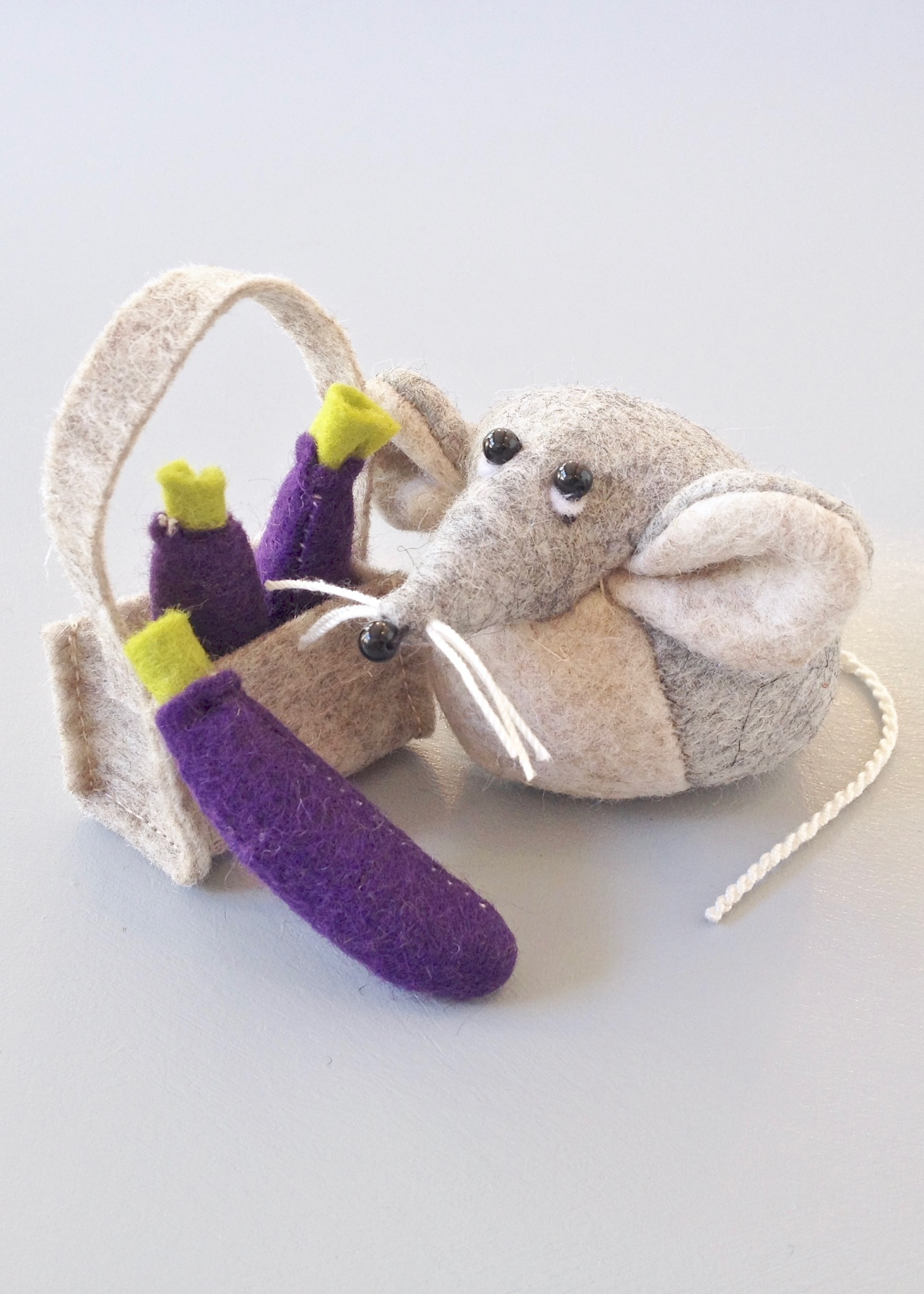 Bilberry Woods character Marie the Mouse wool felt soft sculpture by Laura Mirjami