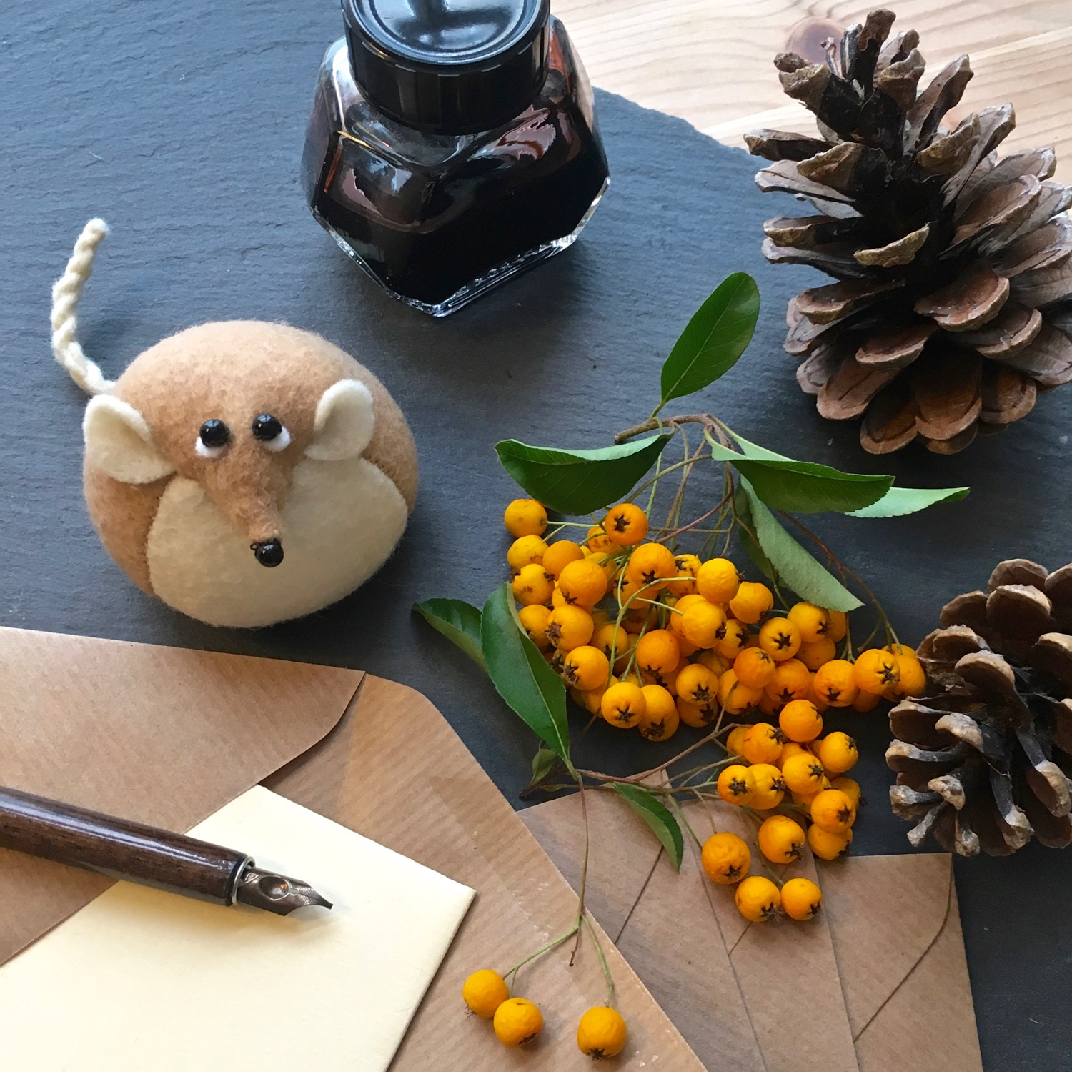 Henry the Harvest Mouse paperweight | an ideal writers companion | handmade from Kunin eco felt | by Bilberry Woods.jpg