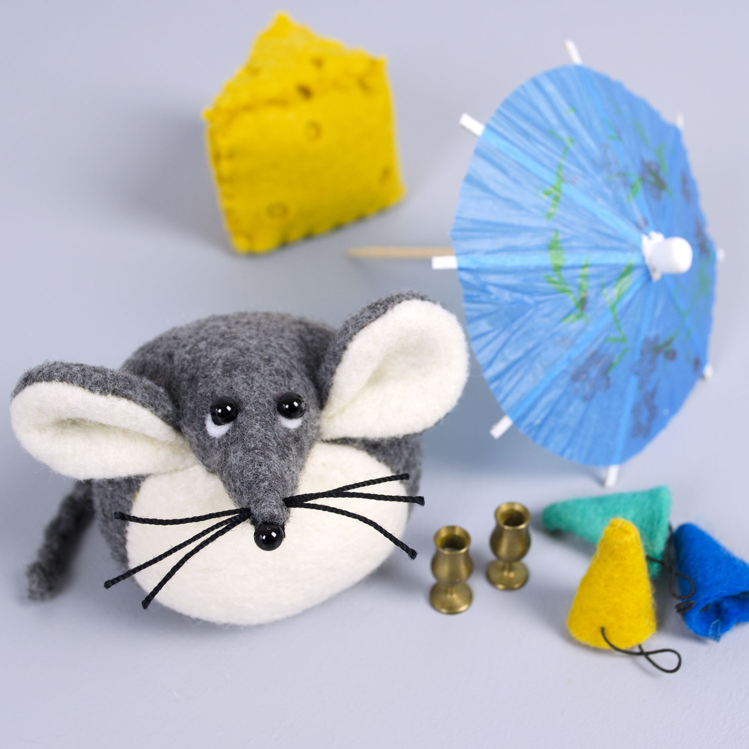 Mika the Mouse paperweight handmade from Kunin eco-fi felt made from plastic bottles | by Bilberry Woods.jpg
