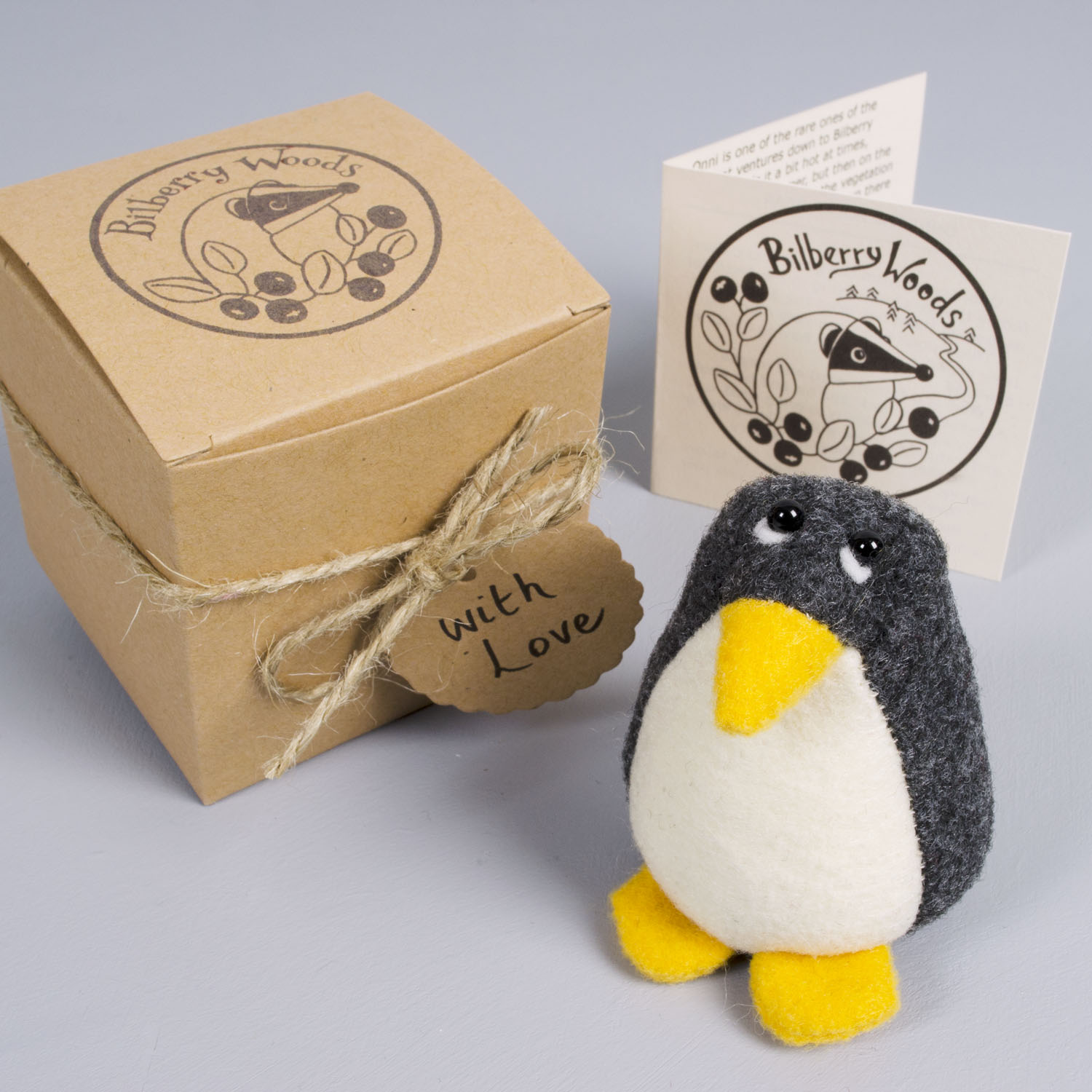 Pedro the Penguin paperweight handmade from Kunin eco-fi felt | by Bilberry Woods.jpg