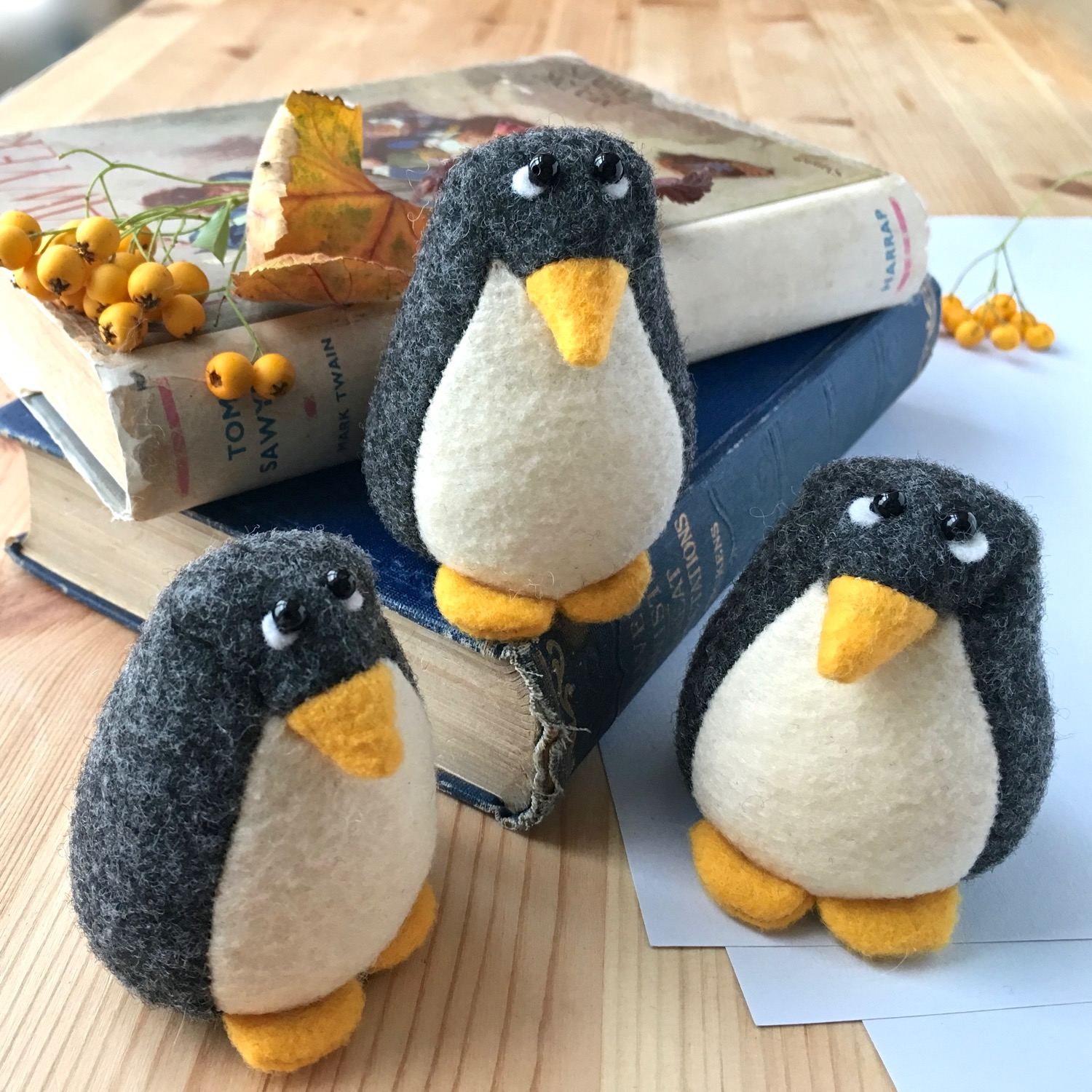 Pedro the Penguin paperweight handmade from Kunin eco felt | by Bilberry Woods.jpg