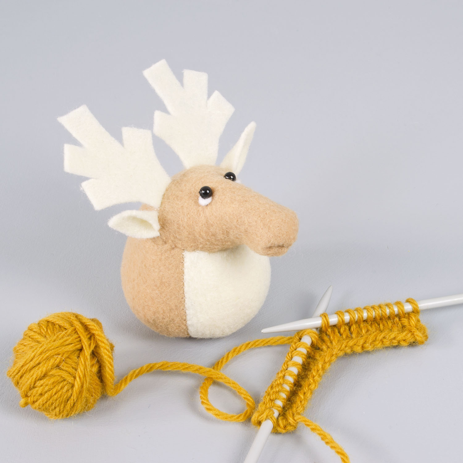 Rupert the Reindeer paperweight |handmade from eco felt made from plastic bottles | by Bilberry Woods.jpg