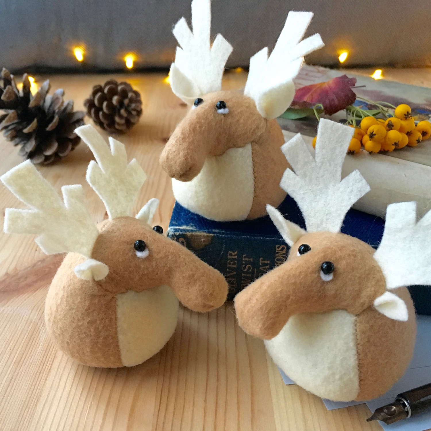 Rupert the Reindeer paperweight handmade from Kunin eco felt | by Bilberry Woods.jpg