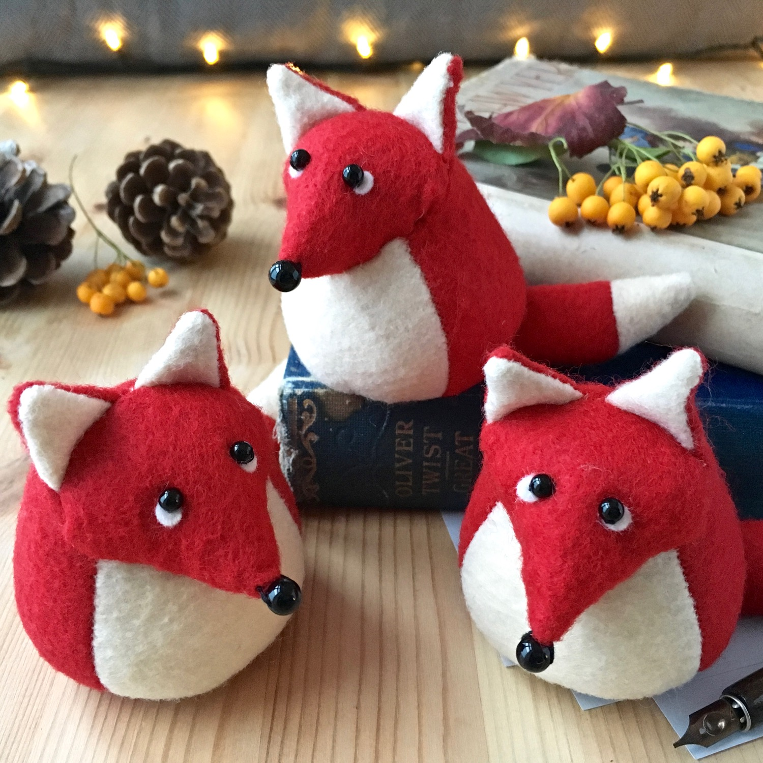 Findlay The Fox paperweight handmade from Kunin eco felt | by Bilberry Woods.jpg