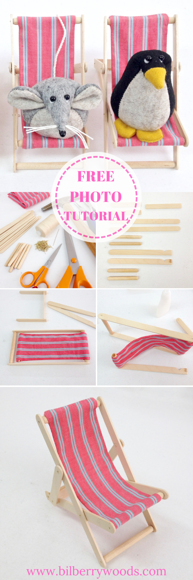 DIY Miniature Deck Chair Photo Tutorial   Doll's House furniture by Bilberry Woods