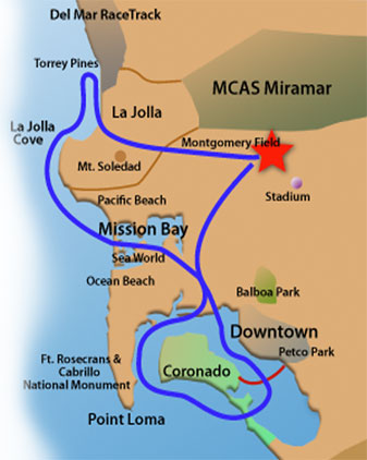 Typical Tour Pattern for our Aircraft. Each Whale Adventure includes a City and Bay Tour.